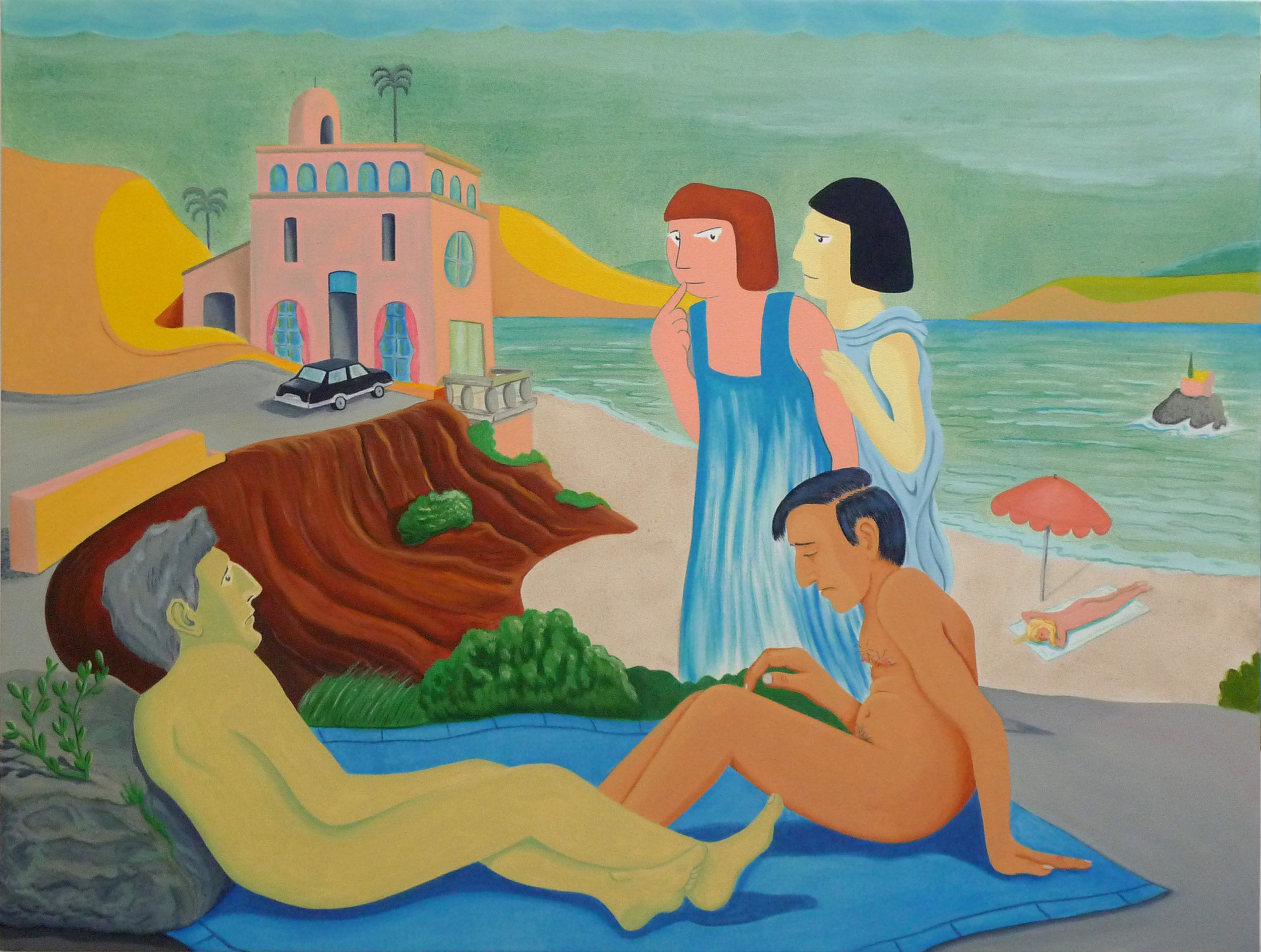 Questions to Answer on the Riviera  2017 Oil and acrylic on canvas, 91.5 x 120 cm