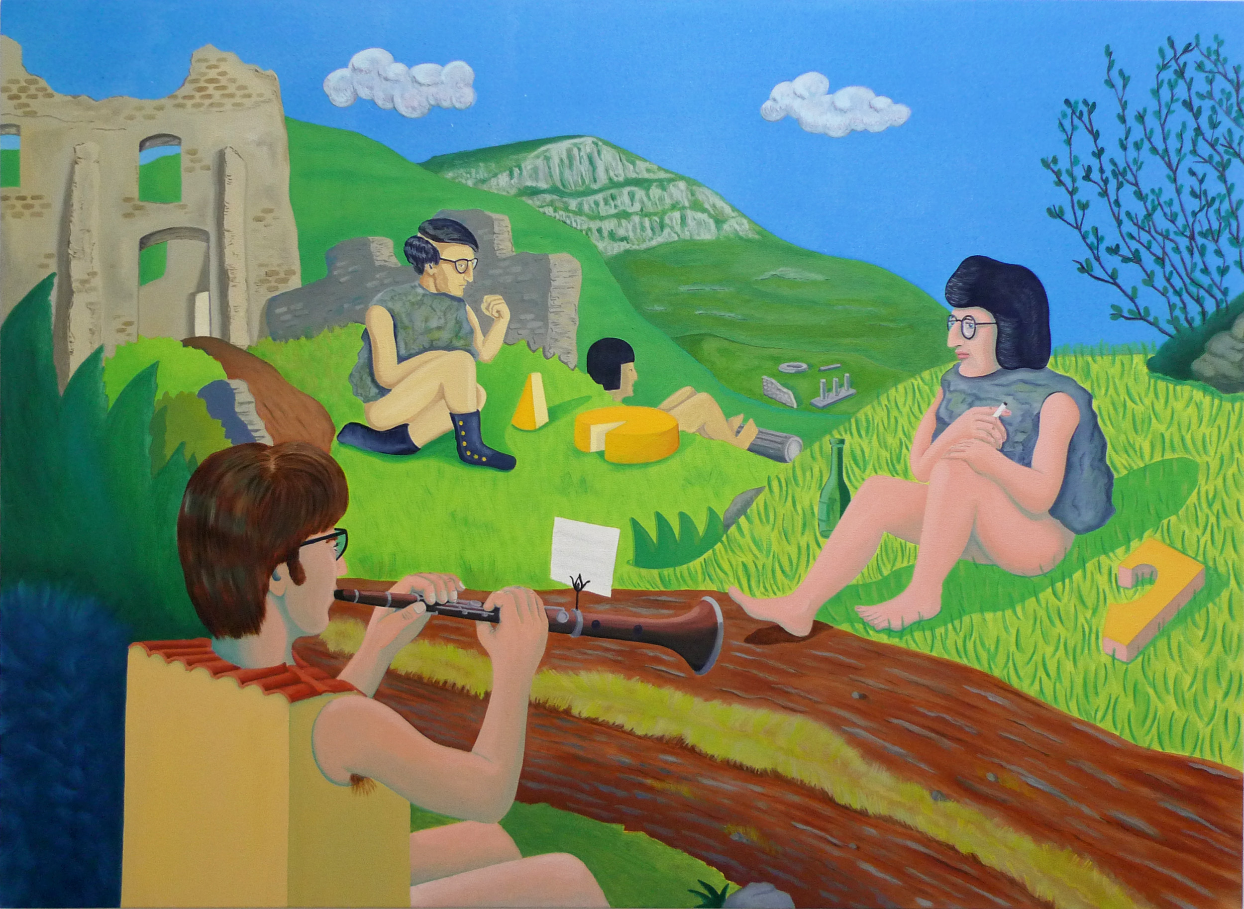 To Live and Play in the Terroir  2017 Oil and acrylic on canvas, 91 x 125 cm