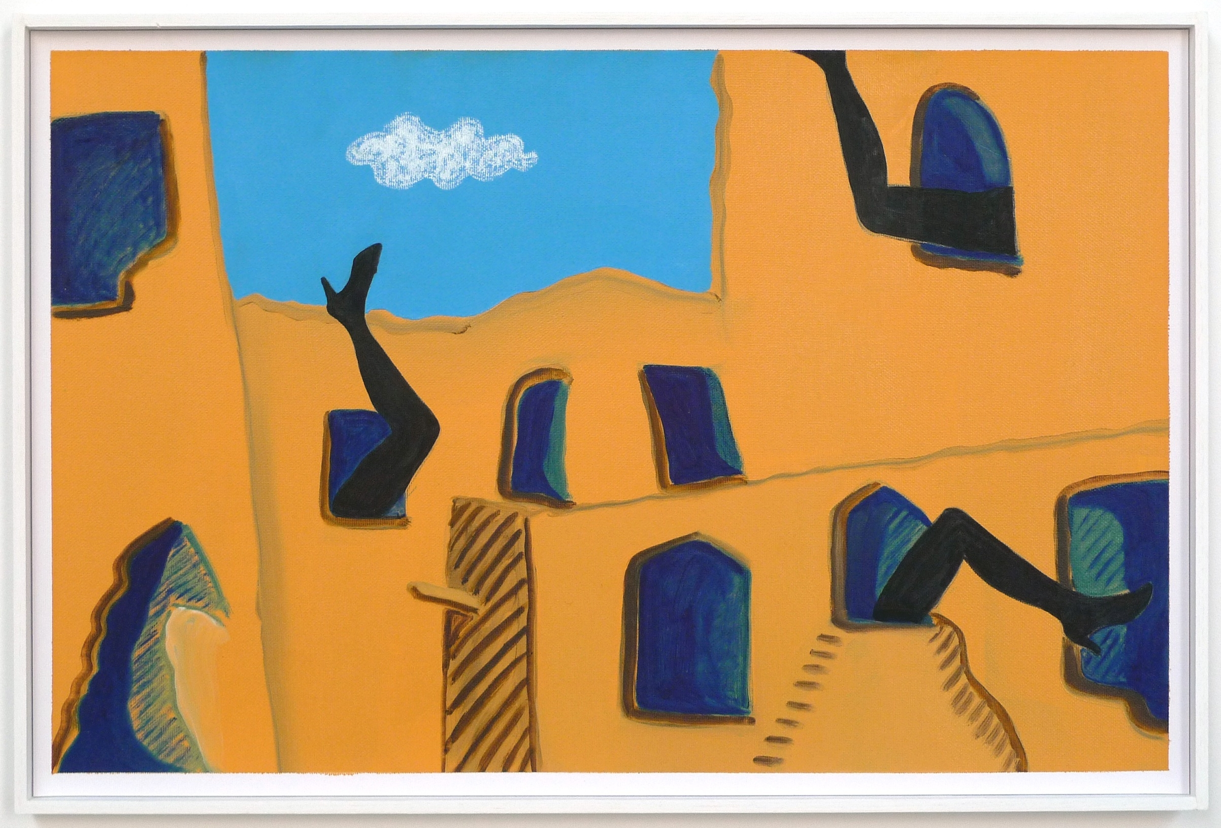 House of Actresses'Legs  2012 Oil and oil pastel on paper in artist's frame, 34.5 x 52 cm