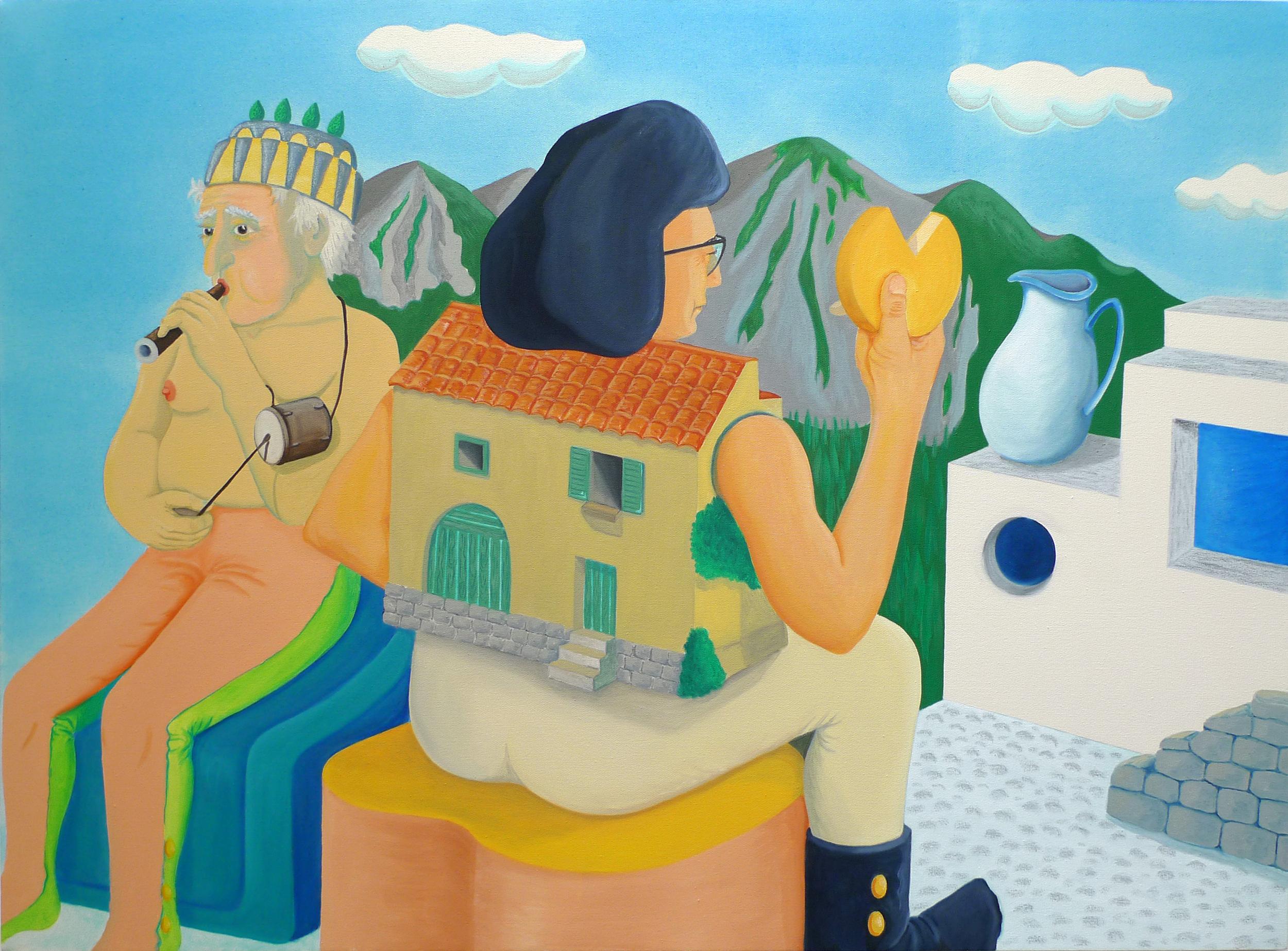 Grandpa au Fabiol et Yé-Yé Maison  2017 Oil and acrylic on canvas, 90 x 120 cm