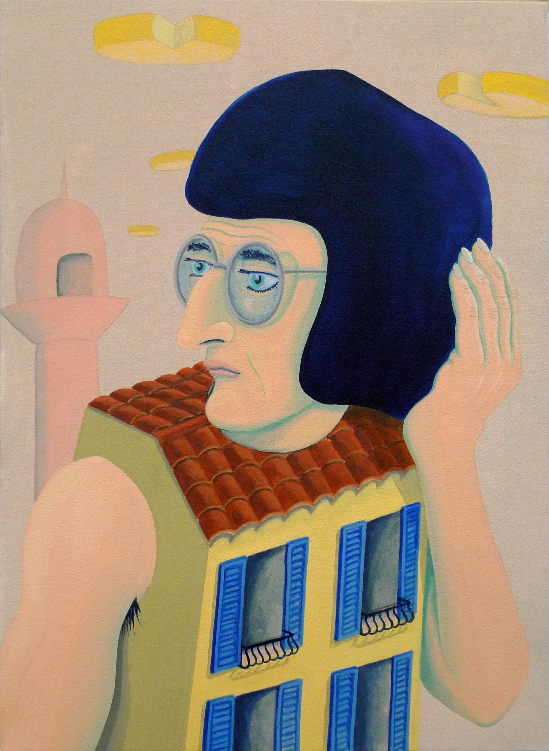 Yé-Yé in the Surveillance Age  2017 Oil and acrylic on canvas, 58.5 x 42.5 cm