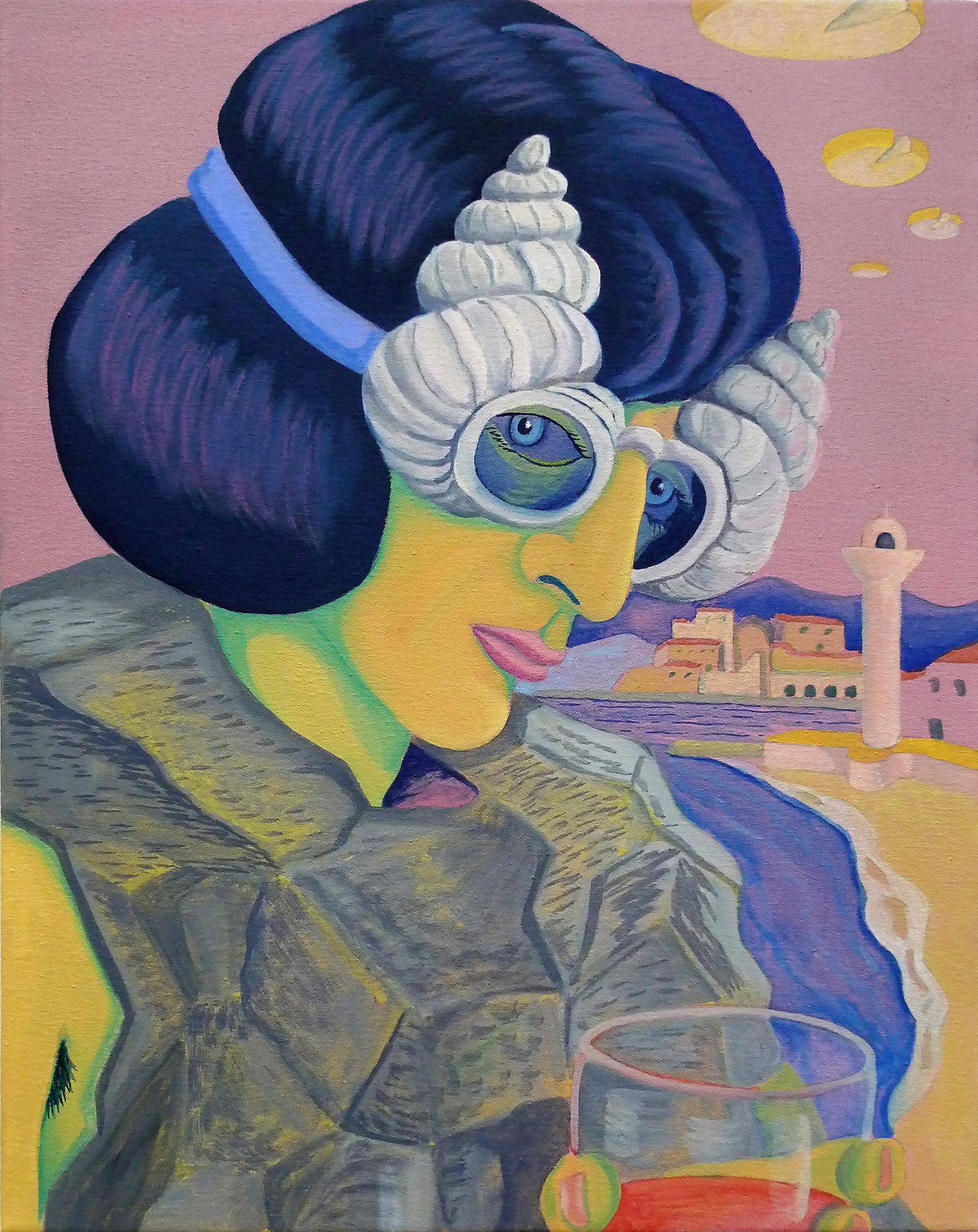 Yé-Yé in Coastal Stylings  2017 Oil and acrylic on canvas, 45 x 36 cm