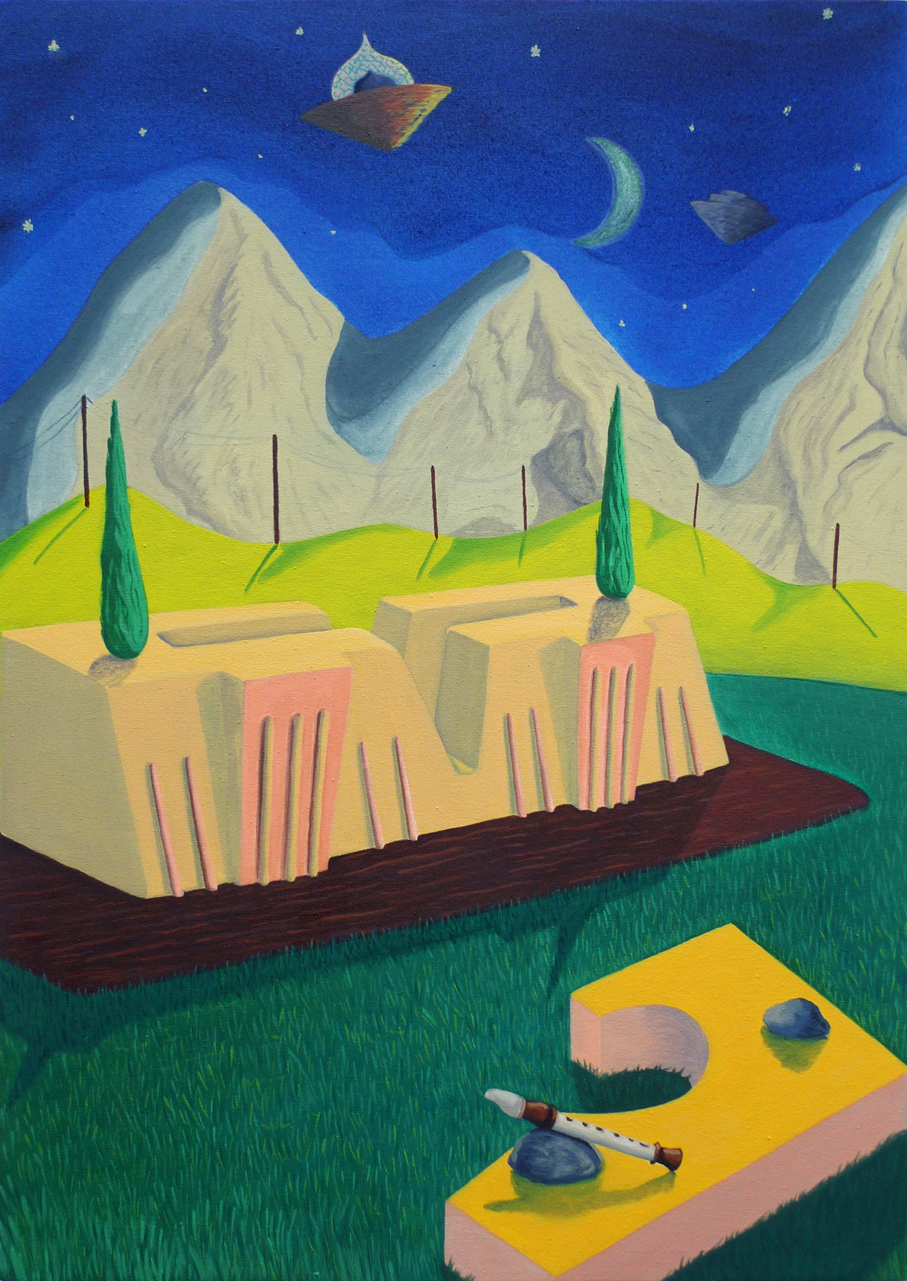 Temple of Four Croissants  2017 Oil and acrylic on canvas, 69.5 x 49 cm