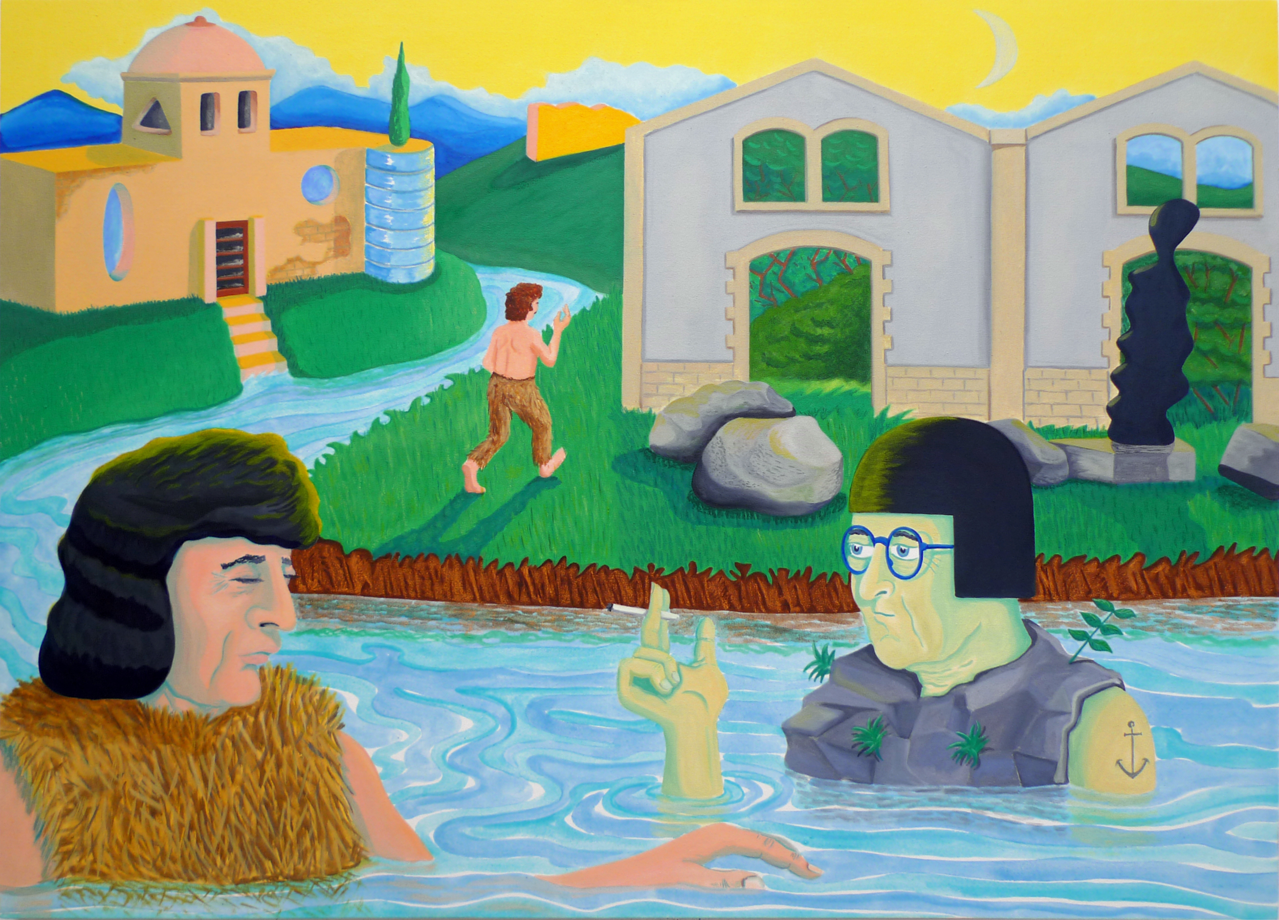 River Conversation  2017 Oil and acrylic on canvas, 86 x 120.5 cm
