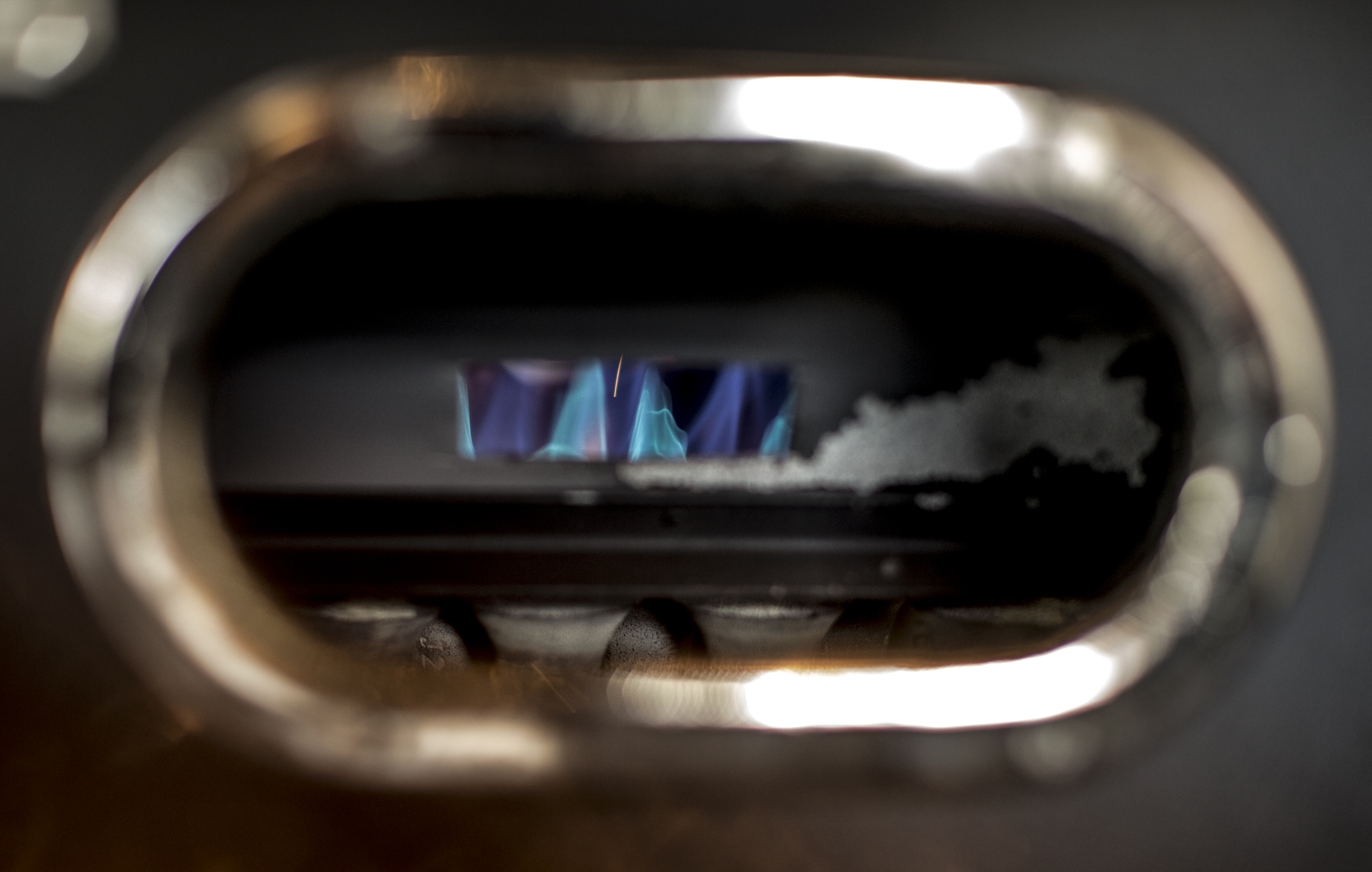 Check out that blue/purple flame from the roaster. So sick.