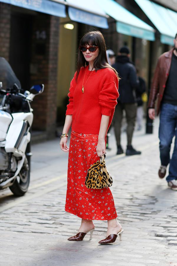Floral skirt + slouchy jumper + heels