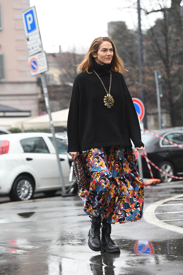 Printed midi skirt + roll neck + flat boots
