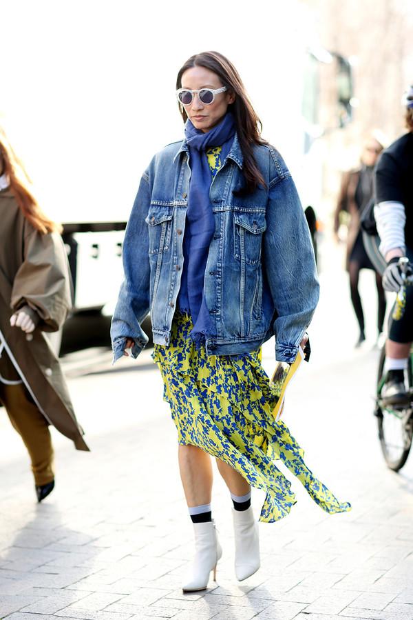 Floral dress + denim jacket + ankle socks