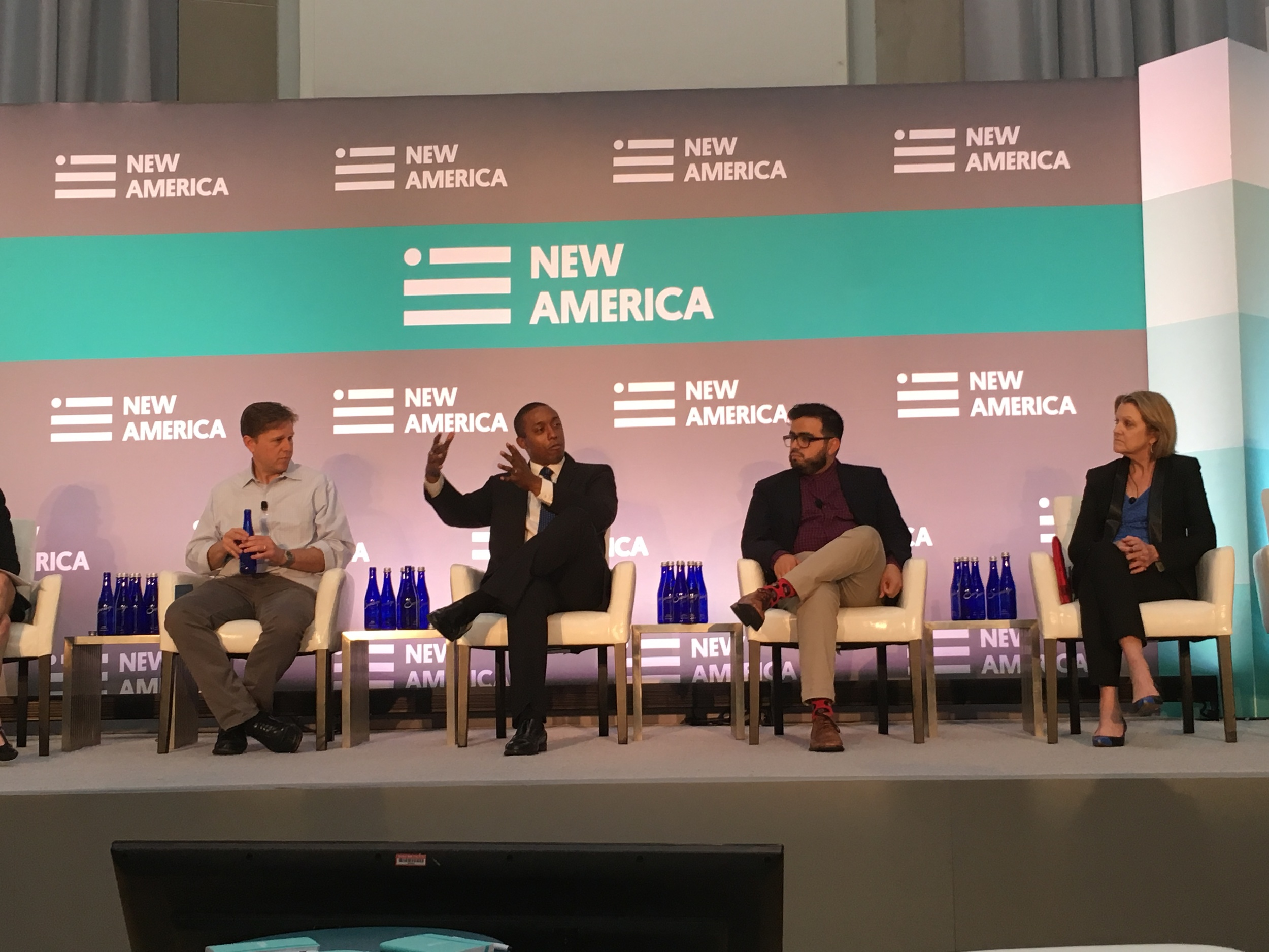 """Chike Aguh discusses the important of digital equity on a panel called """"The ABCs of the New Digital Citizen: Adoption, Broadband, Context""""at the 2016 New America Conference."""