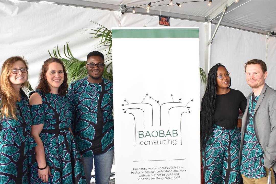 The Baobab Consulting team, Emma Giloth, Michael Ibonye, Pumla Maswanganyi and Thomas Gallemore. Social Capital Markets Conference, San Francisco, October 2018.