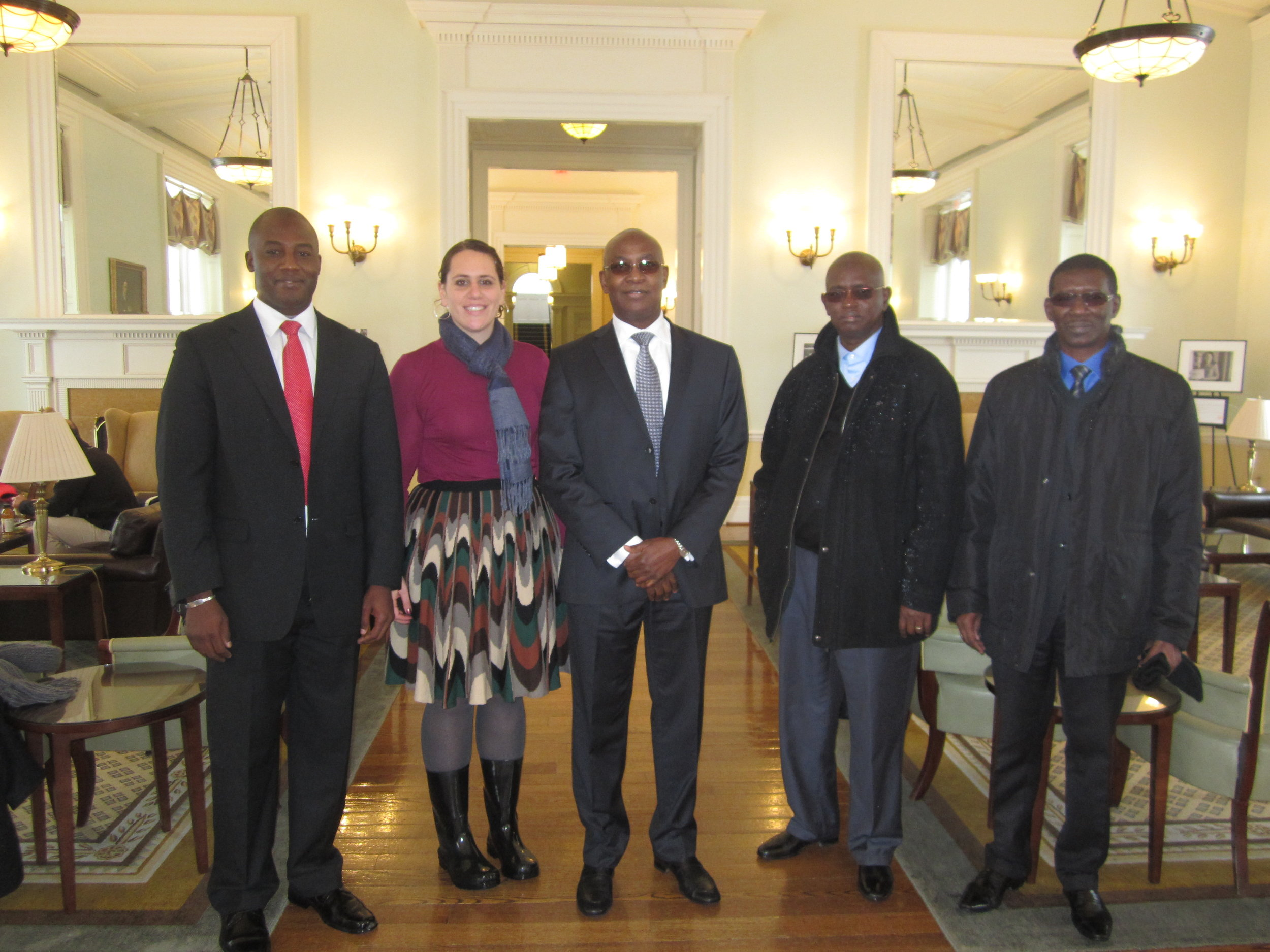 Momar Dieng (SpecialAdvisor to the Minister of Education), Liz Grossman, Serigne Mbaye Thiam (Minister of Education) Abdou Latif Coulibaly (Minister of Good Governance) and Mary Teuw Niane (Minister of Higher Education) at the Harvard Business School after our trek across campus in the snow.