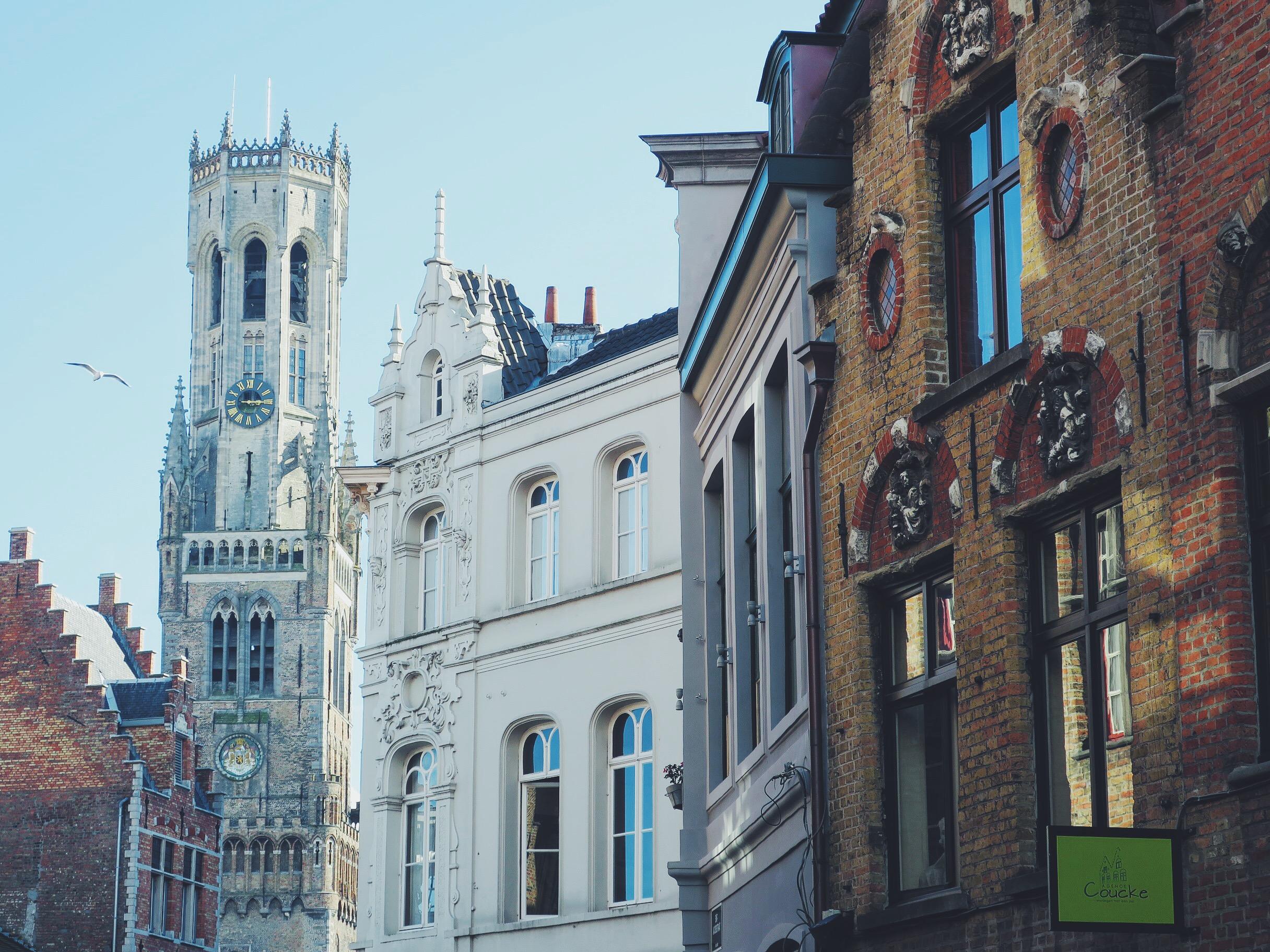 View on the Belfry from Sint-Jakobsstraat