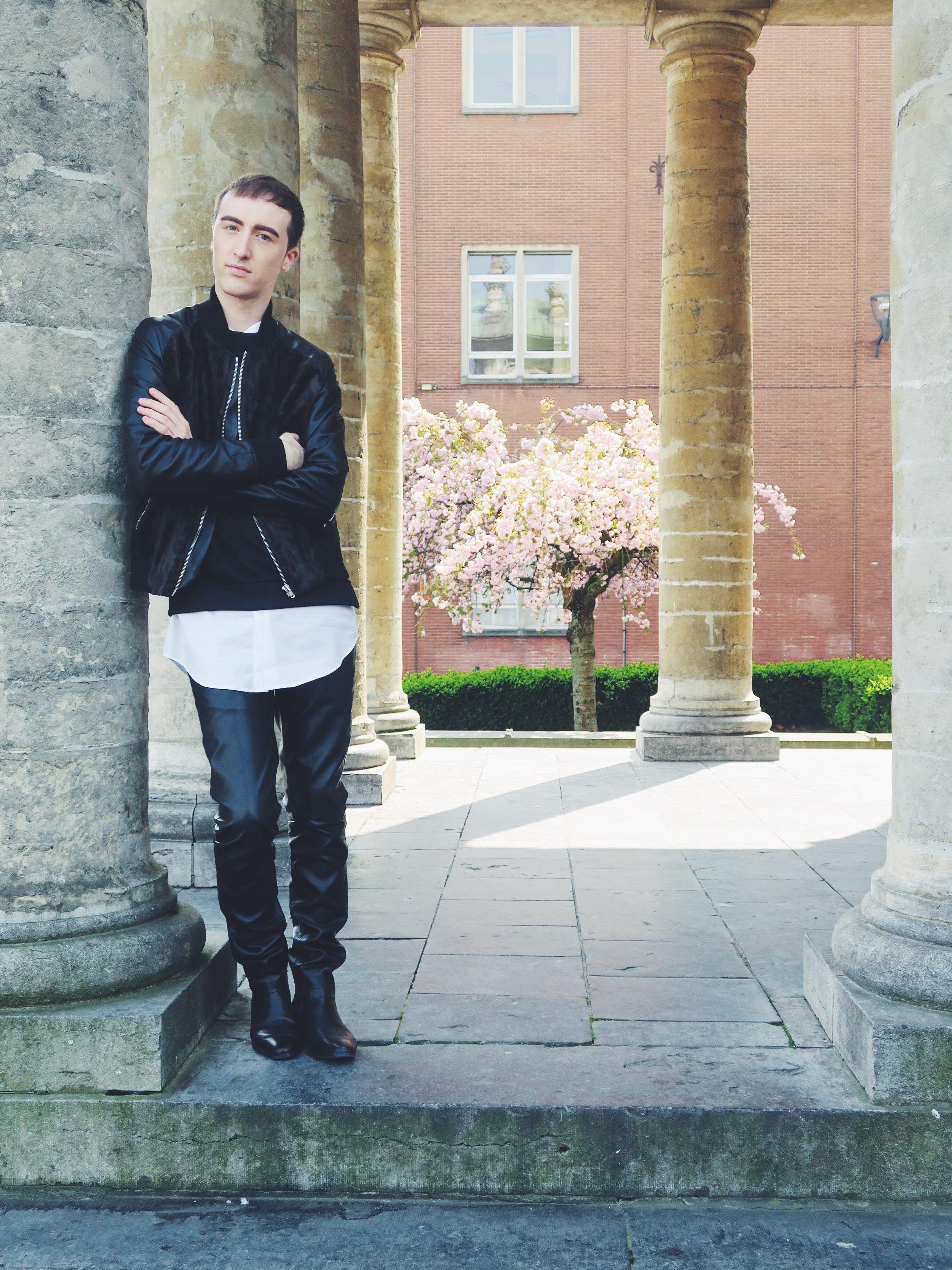 The Kooples bomber jacket - Cos sweater - Cos shirt - Zara trousers - Zign boots via Zalando