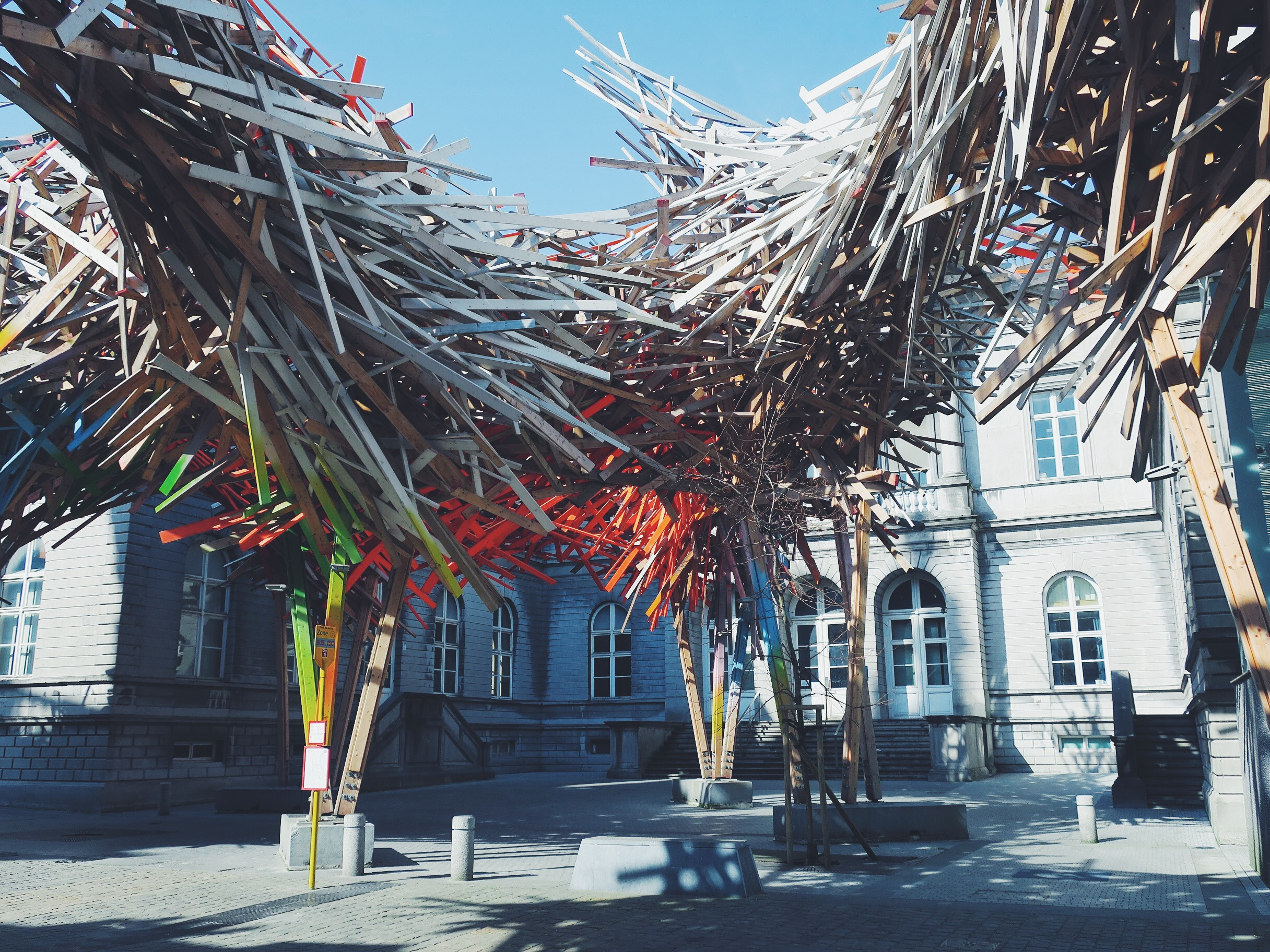 'The Passenger' by Arne Quinze, part of Mons 2015, often referred to as the Giant Mikado