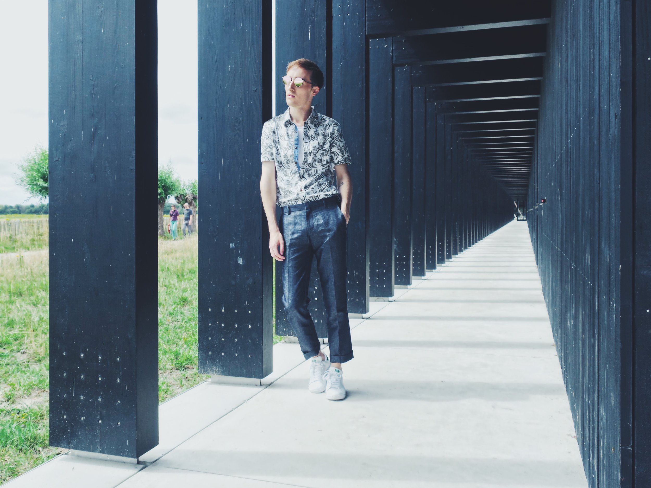 Original Penguin shirt - Essentiel t-shirt - Topman trousers - Adidas Stan Smith sneakers - Komono sunglasses