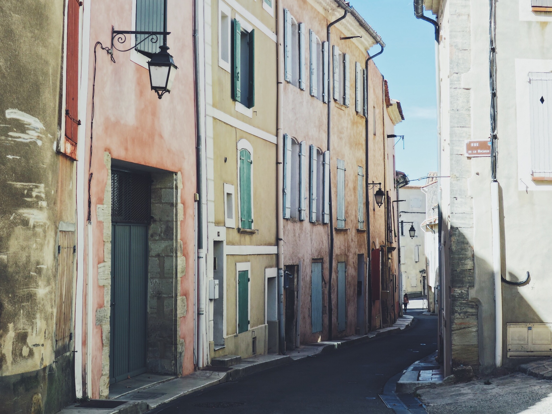 A picturesque street in Bédoin, a small village close to our Airbnb