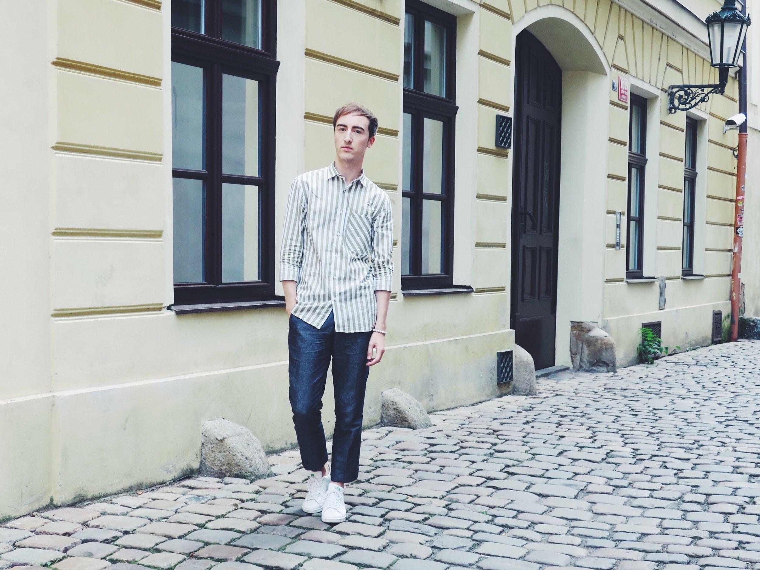 Zara shirt - Topman trousers - Adidas Stan Smith sneakers
