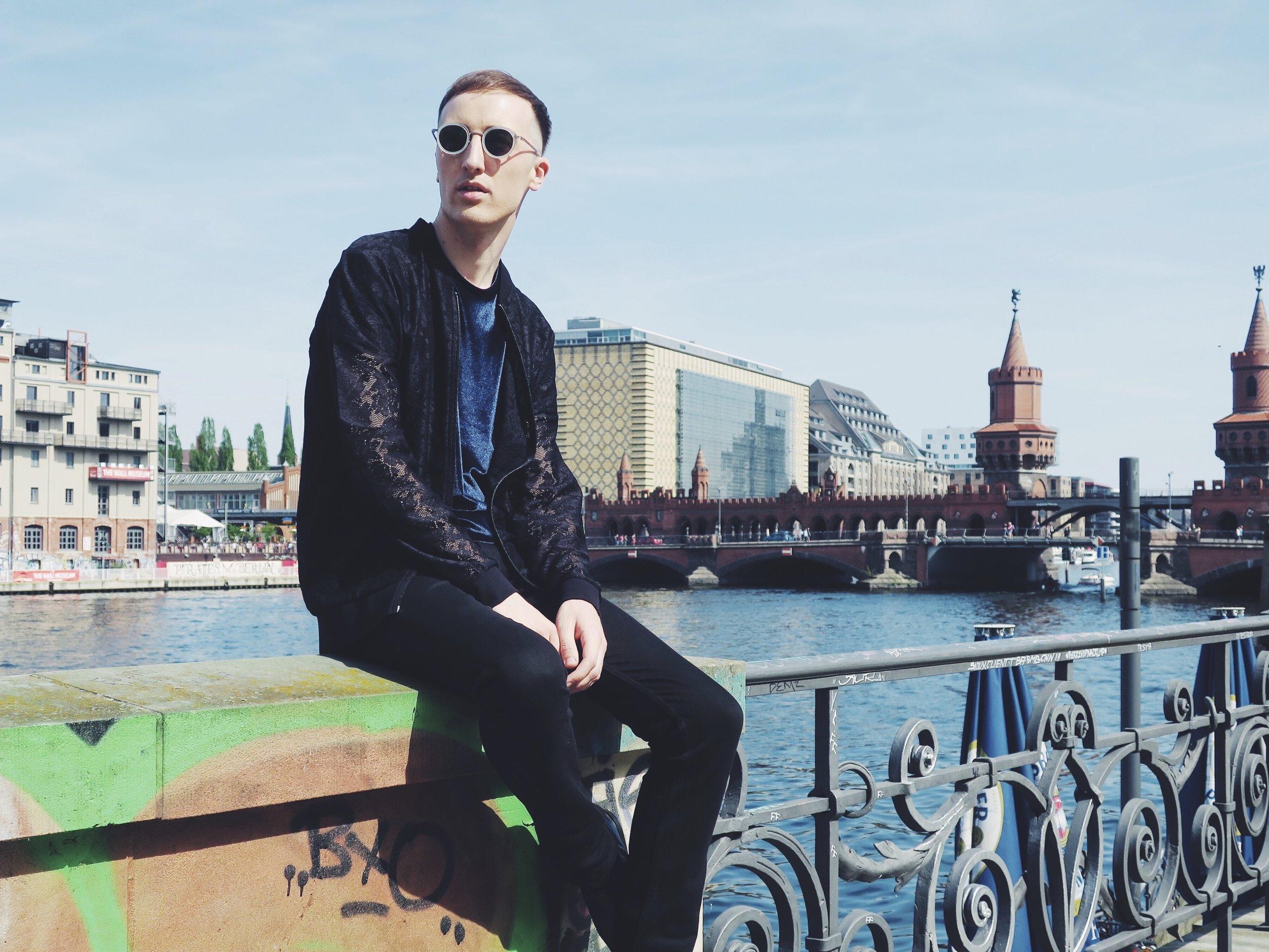 Asos bomber jacket - Asos t-shirt - Calvin Klein Jeans trousers - Komono sunglasses
