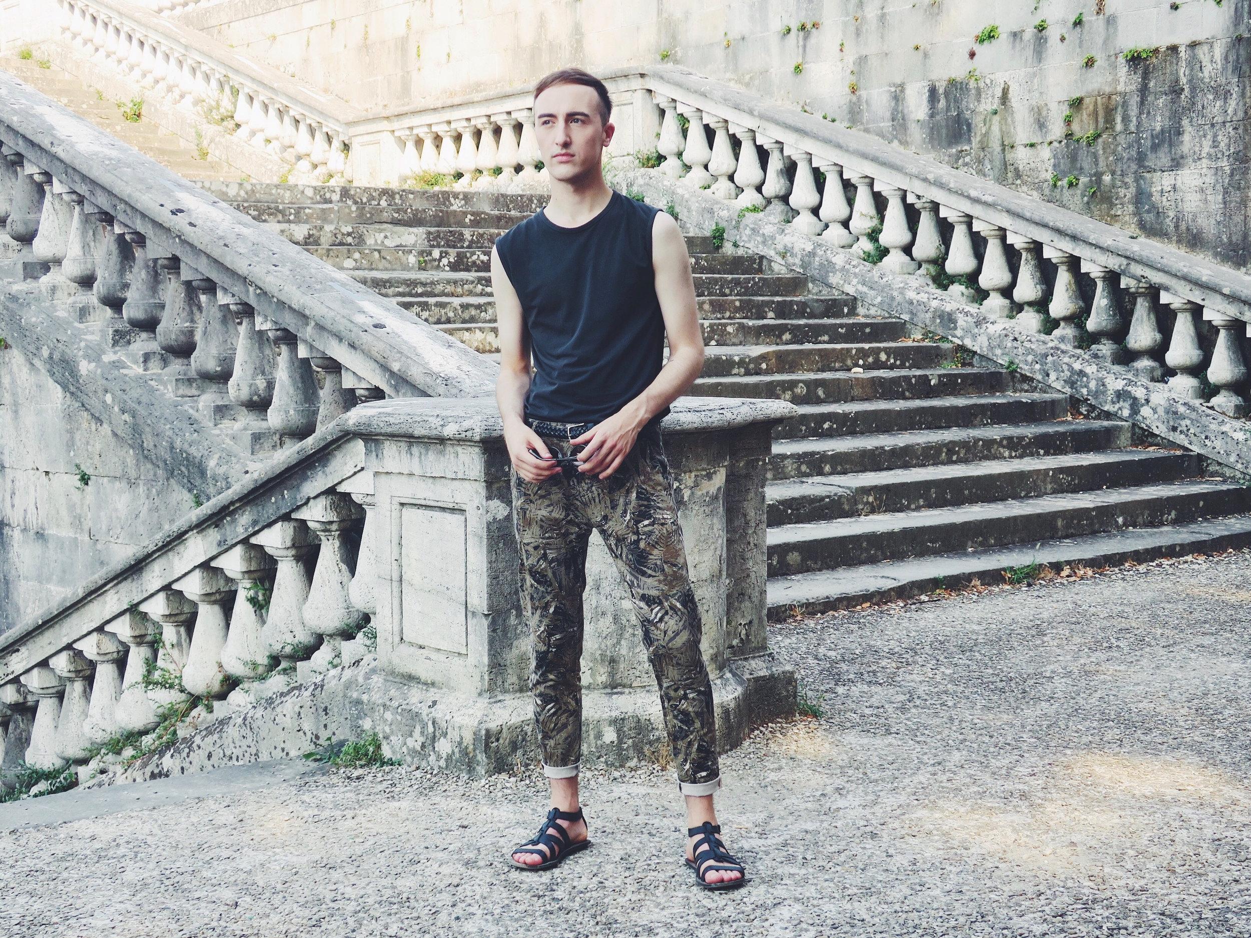 Raf Simons tank top - Zara trousers - Zara sandals