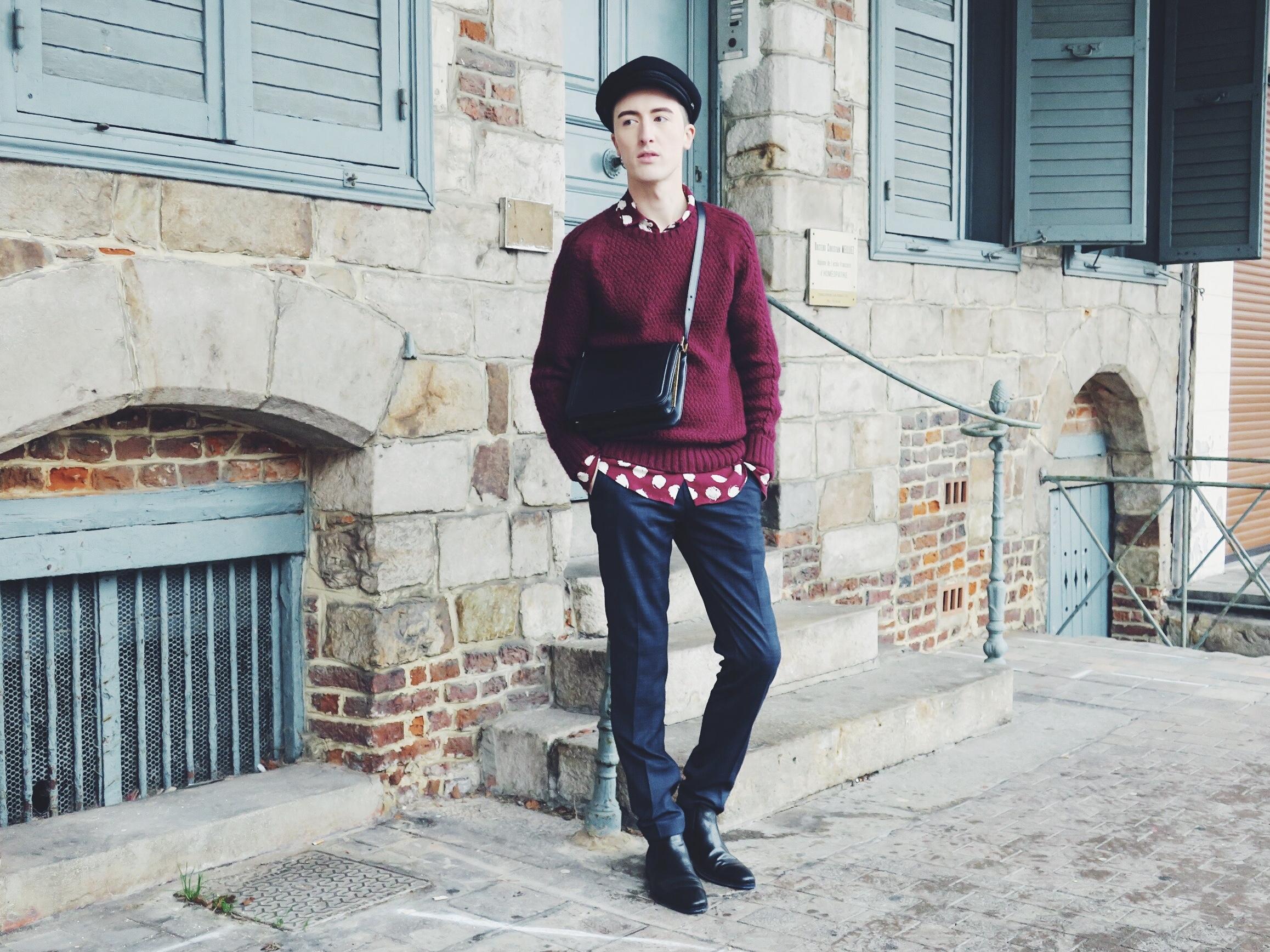 ASOS Design hat - Zara knitwear - Zara shirt - DIGEL move trousers - DIGEL move ankle boots - Delvaux bag