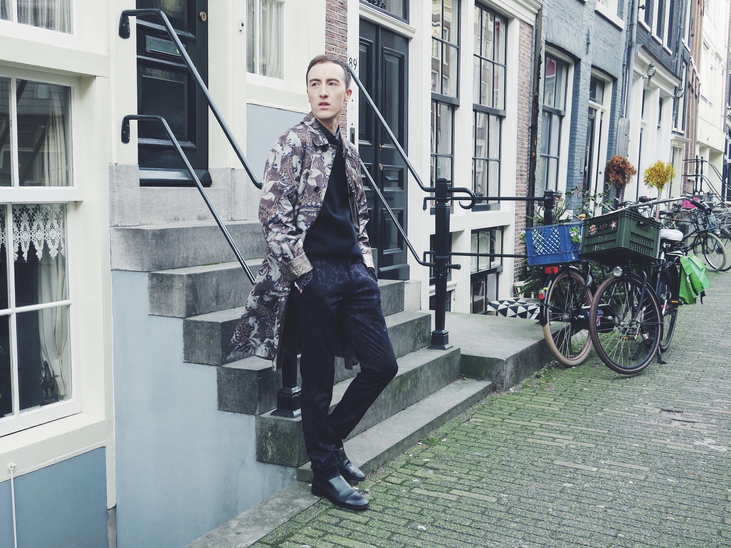 Dries Van Noten coat - Topman shirt - Uniqlo sweater - Zara trousers - Zara ankle boots