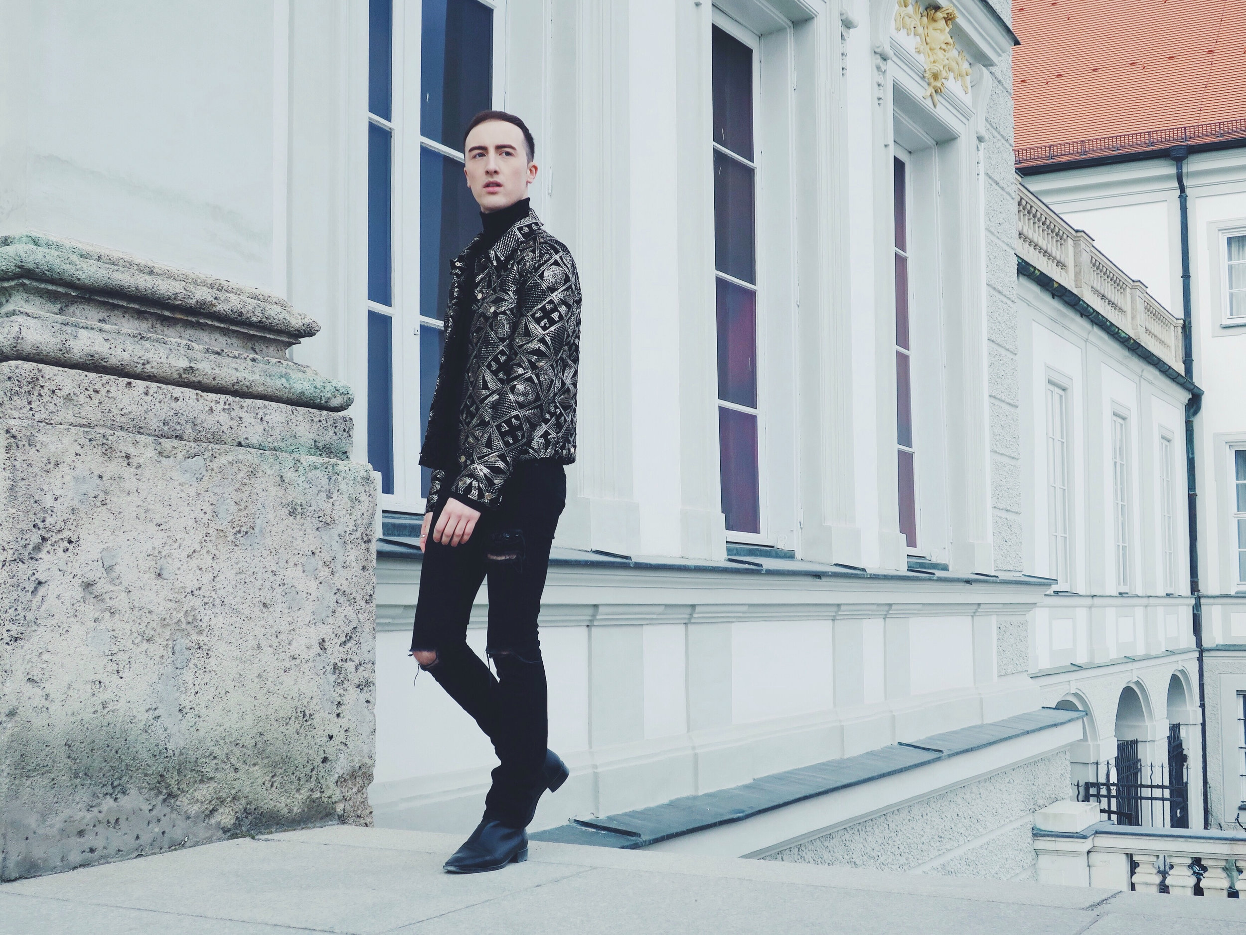 Asos Design jacket - Arket turtleneck - Asos jeans - Zara ankle boots
