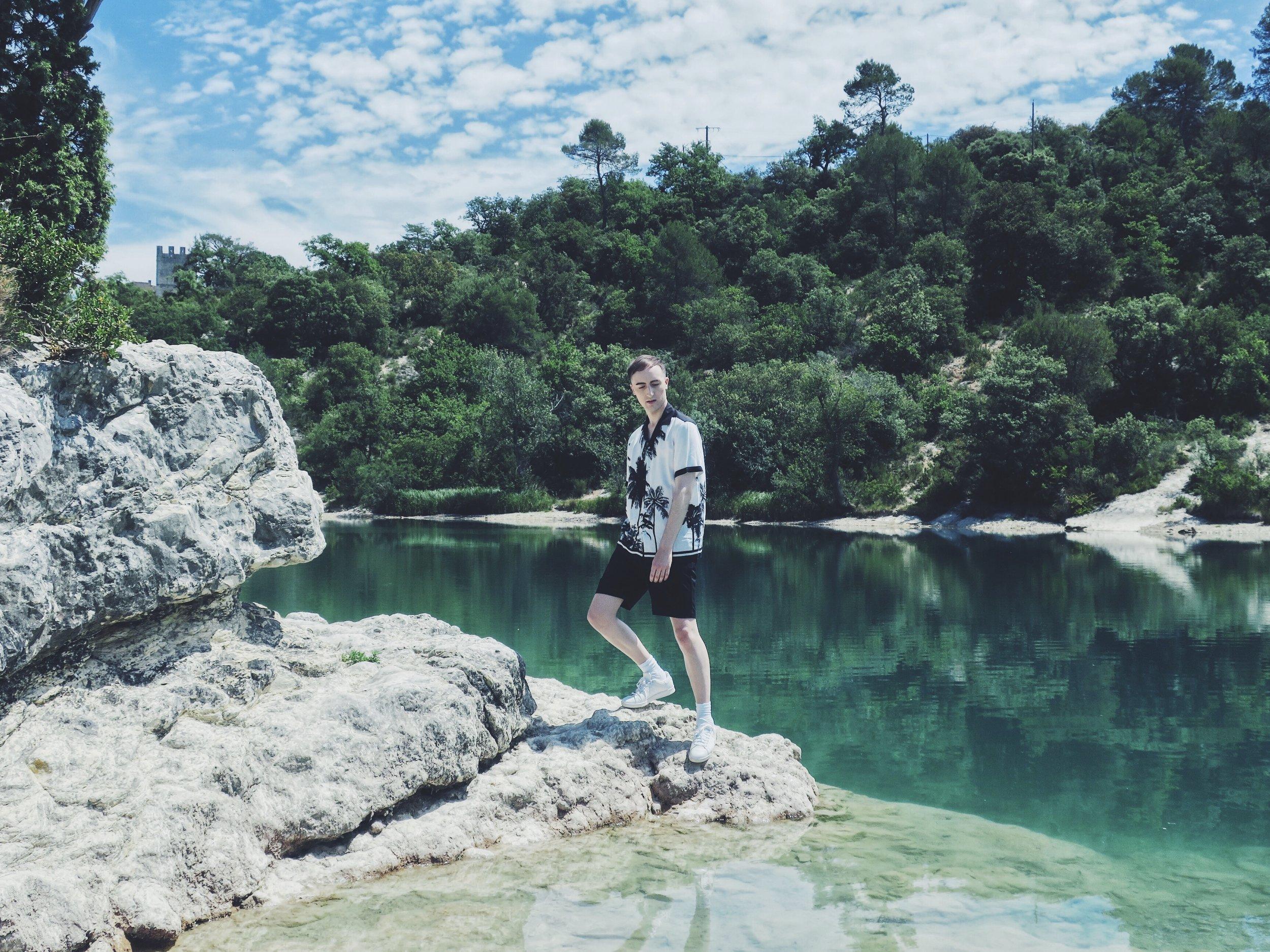 Burton Menswear shirt via Asos.com - Zara shorts - Adidas Stan Smith sneakers
