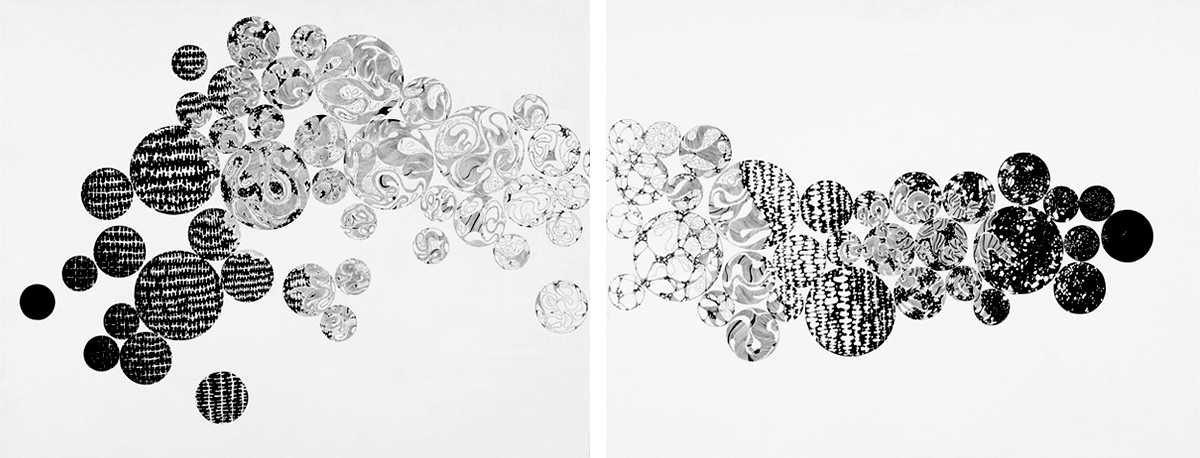 Spreading out, ink on canvas, 24x60 in., 2010