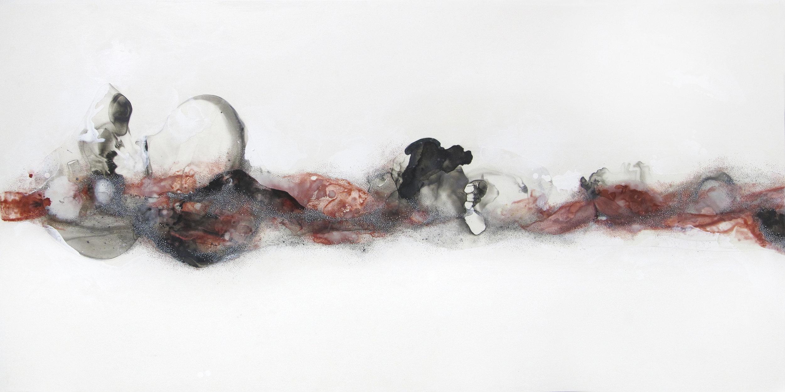 Gauzy crimson, mixedmedia, 24x48 in., 2016