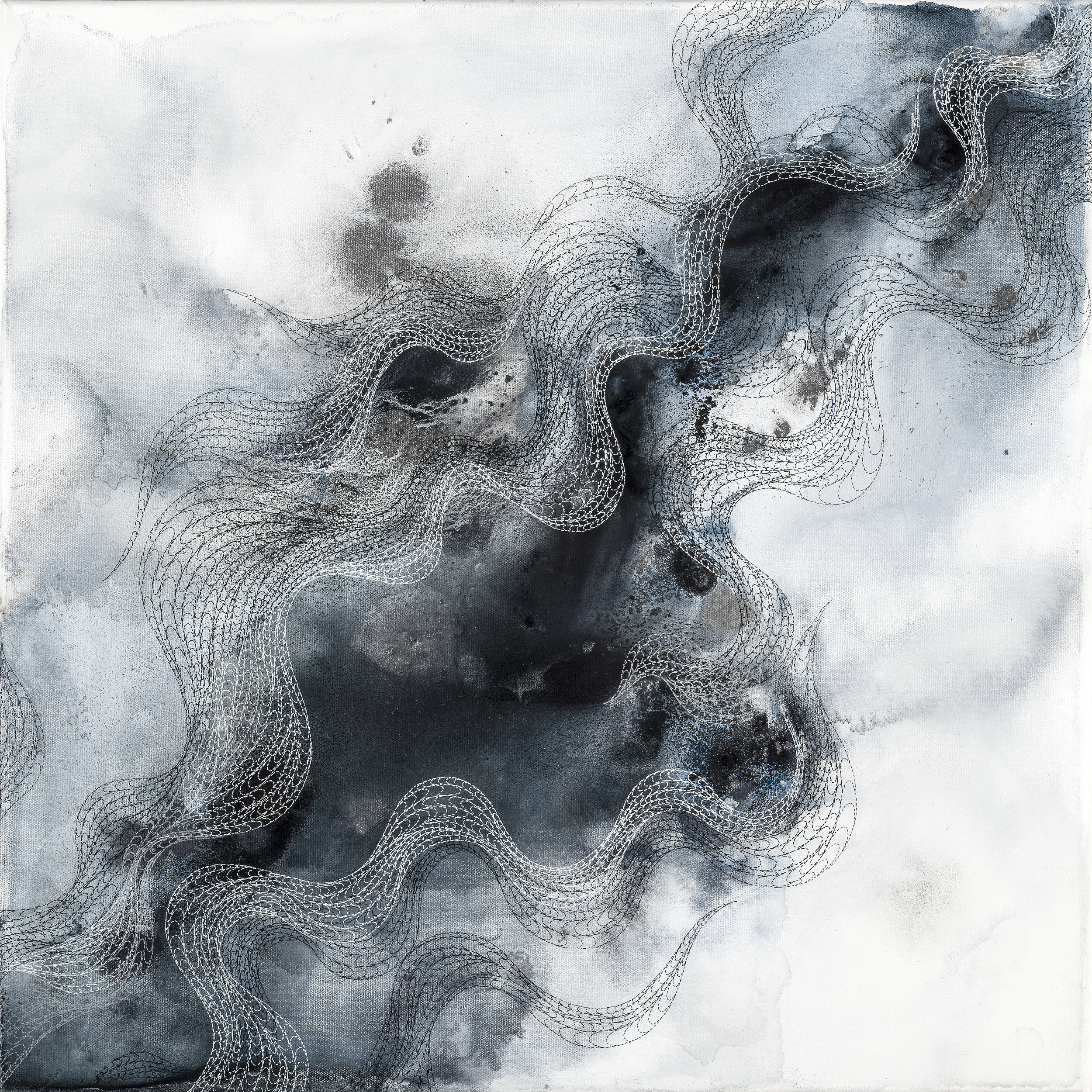 Cascade 04, ink, powder pigment on canvas, 24x24in., 2019