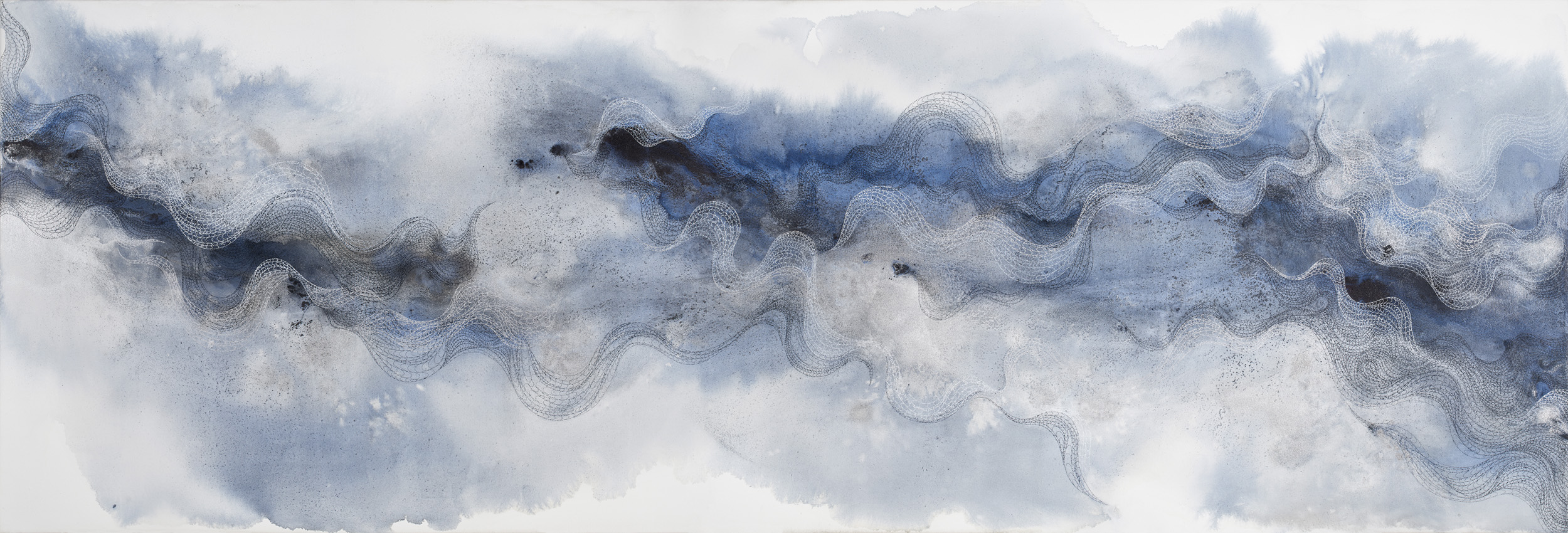 Cascade 05, ink, powder pigment on canvas, 89x30 in., 2018