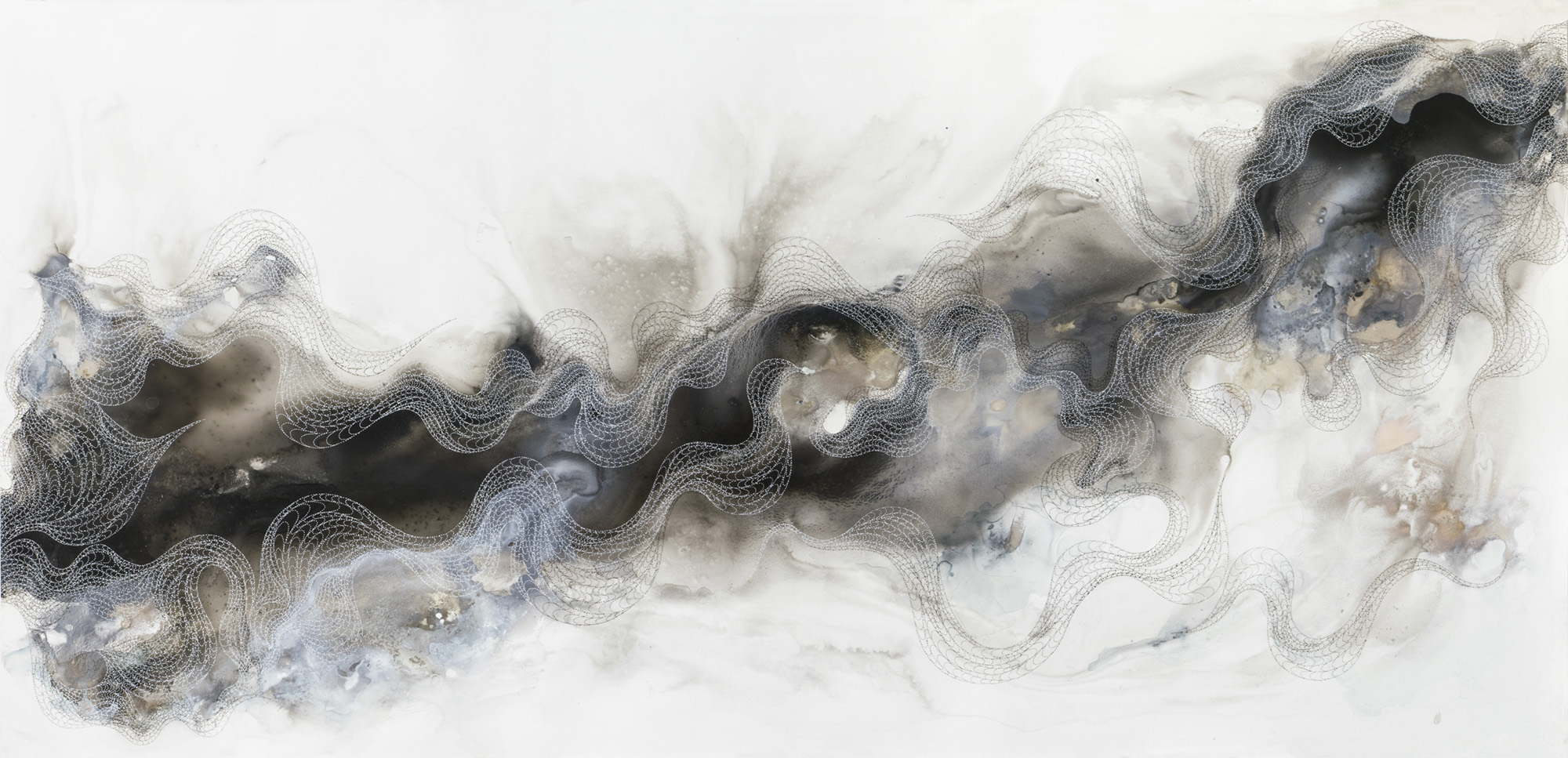 Wave #2, ink, powder pigment on Yupo, 60x29 in., 2019