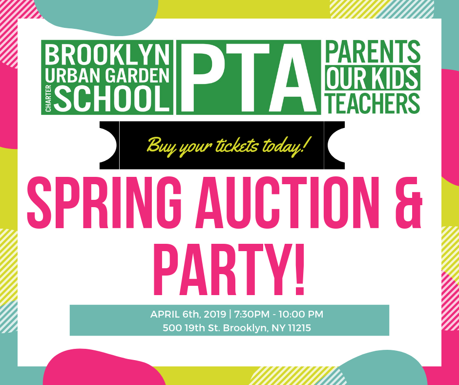 Save the date! The PTA is holding its  Spring Auction and Party  fundraiser on Saturday, April 6th! There's a great selection of items to bid on and food, drink, and fun ahead .