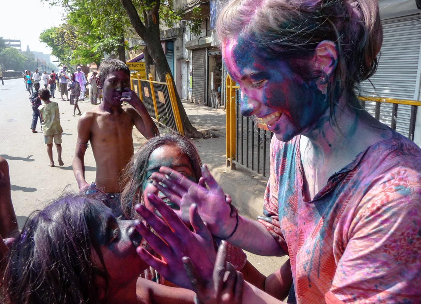 Celebrate Holi festival • Kolkata, India •