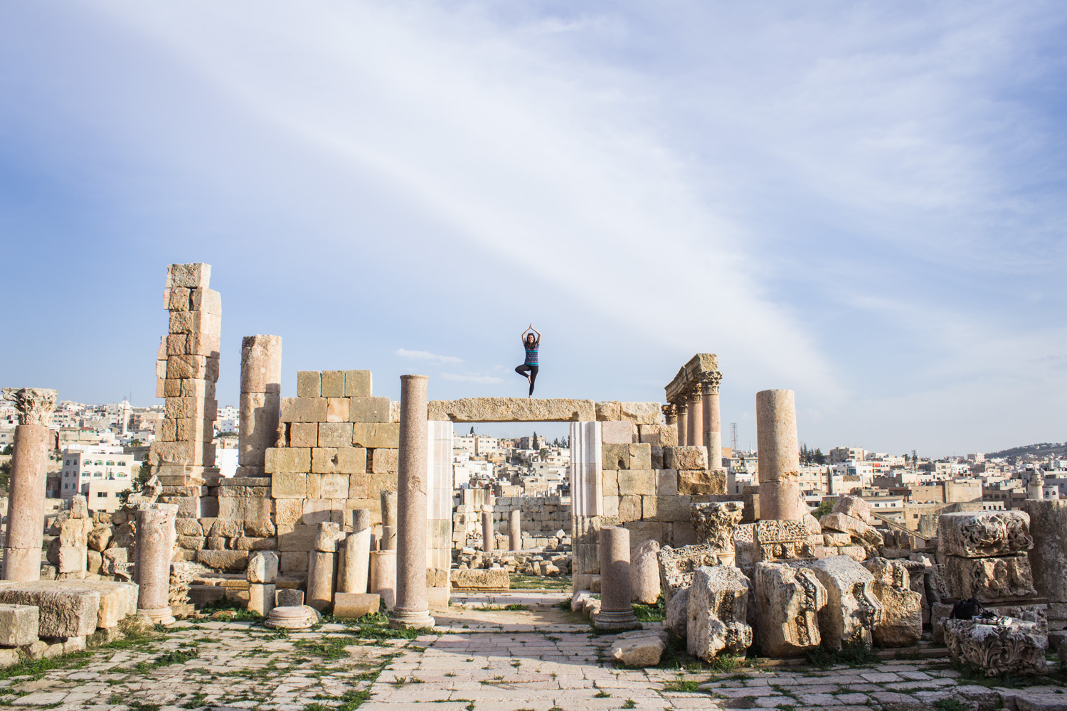 Genuinely one of my favourite moments, mostly because this split-second pose was so scary,but worth it for this photo. Also, this place of ruins is amazing. • Jerash, Jordan •