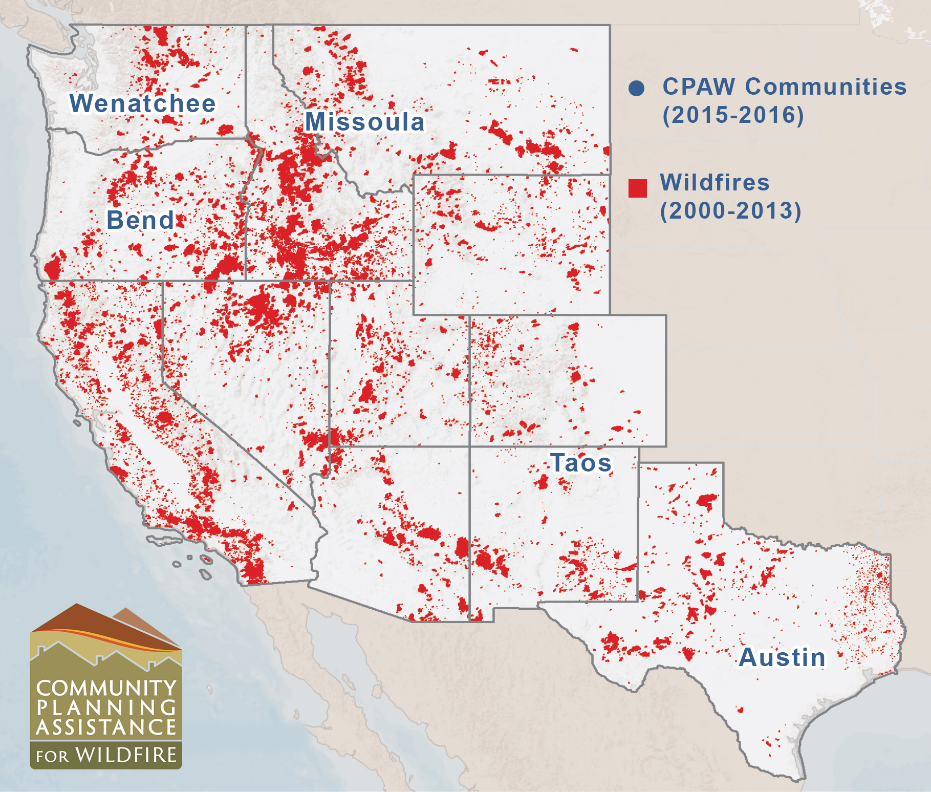 PROGRAM OPERATING IN FIVE COMMUNITIES SO FAR. The Community Planning Assistance for Wildfire Program is currently underway in five communities across the country. Image courtesy of Headwaters Economics.