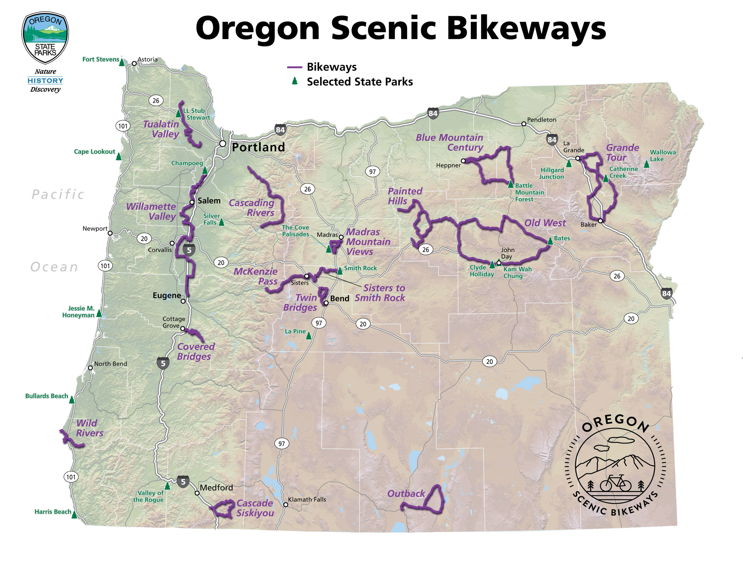 Scenic Bikeway Map. Oregon's State designated Scenic Bikeways are carefully picked from locally proposed routes to highlight the best of the best road cycling in Oregon. Each bikeway is categorized by being mild, moderate, challenging and extreme. Currently, there are 15 designated Scenic Bikeways across the state. Map courtesy of Oregon Parks and Recreation Department.