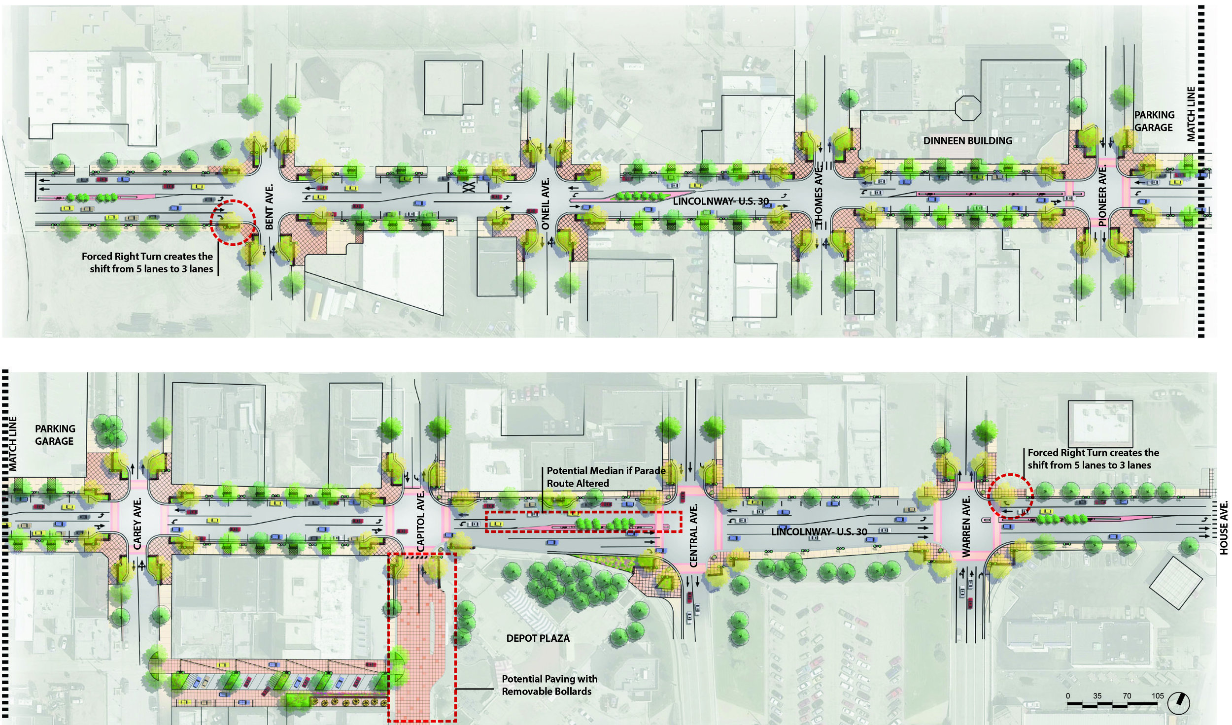 Proposed Road Reconfiguration Concept for Lincolnway. Graphic provided by City of Cheyenne.