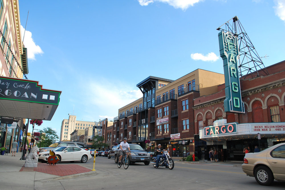 DOWNTOWN FARGO. PHOTO COURTESY OF THE FARGO-MOORHEAD CONVENTION AND VISITOR'S BUREAU.
