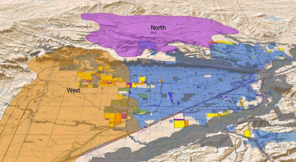 OBLIQUE VIEW OF BILLINGS, MONTANA SHOWING EXISTING CITY LIMITS (BLUE) AND ADJOINING PARCELS USED FOR INFILL SCENARIO, NORTH GROWTH AREA (MAGENTA), AND WEST GROWTH AREA (TAN). GREY SHADING INDICATES LAND UNSUITABLE FOR DEVELOPMENT.