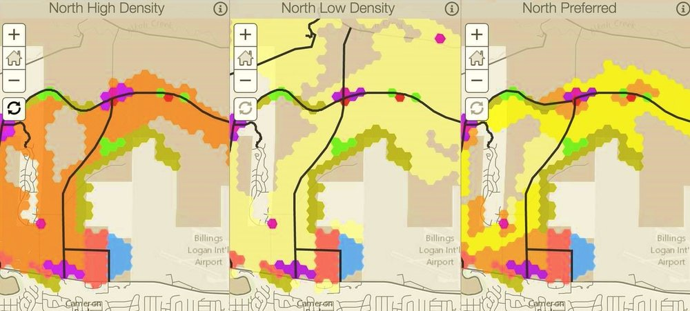 NORTH GROWTH AREA COMPARING THREE SCENARIOS: HIGH, LOW, AND PUBLIC PREFERRED. DIFFERENT COLORS REPRESENT DIFFERENT LAND USES AND RESIDENTIAL DENSITIES. DARK BLACK LINES INDICATE HYPOTHETICAL ROAD NETWORK CREATED TO PROVIDE CONNECTION TO EXISTING ROADS AND ACCESS TO RESIDENTIAL AREAS.
