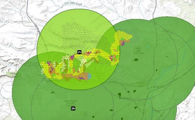 THREE-MILE RADII WERE CREATED AROUND EXISTING COMMUNITY PARKS (DARK GREEN) TO IDENTIFY GAPS IN COVERAGE. A HYPOTHETICAL COMMUNITY PARK WAS ADDED TO COMPLETE COVERAGE (LIGHT GREEN) IN NORTH LOW DENSITY SCENARIO.