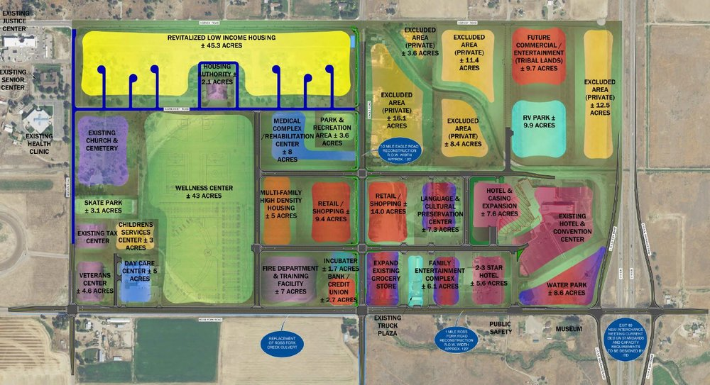 THE SHOSHONE-BANNOCK TRIBES--EXIT 80 MASTER PLAN 2017. (SOURCE: TRIBAL PLANNING DEPARTMENT)