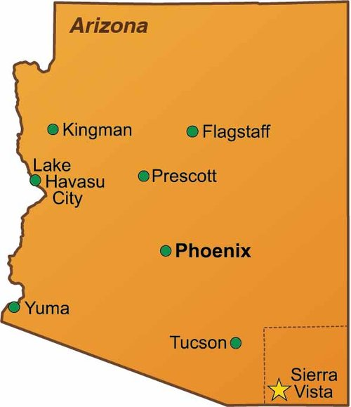 THE CITY OF SIERRA VISTA IS LOCATED IN SOUTHEASTERN ARIZONA AND IS APPROXIMATELY 90 MILES SOUTHEAST OF TUCSON. THE CITY SERVES AS THE RETAIL HUB OF COCHISE COUNTY AND NORTHERN SONORA, MEXICO. THE POPULATION OF SIERRA VISTA IS 44,183 AND ENCOMPASSES 140 SQUARE MILES WHICH INCLUDES THE FORT HUACHUCA MILITARY INSTALLATION.