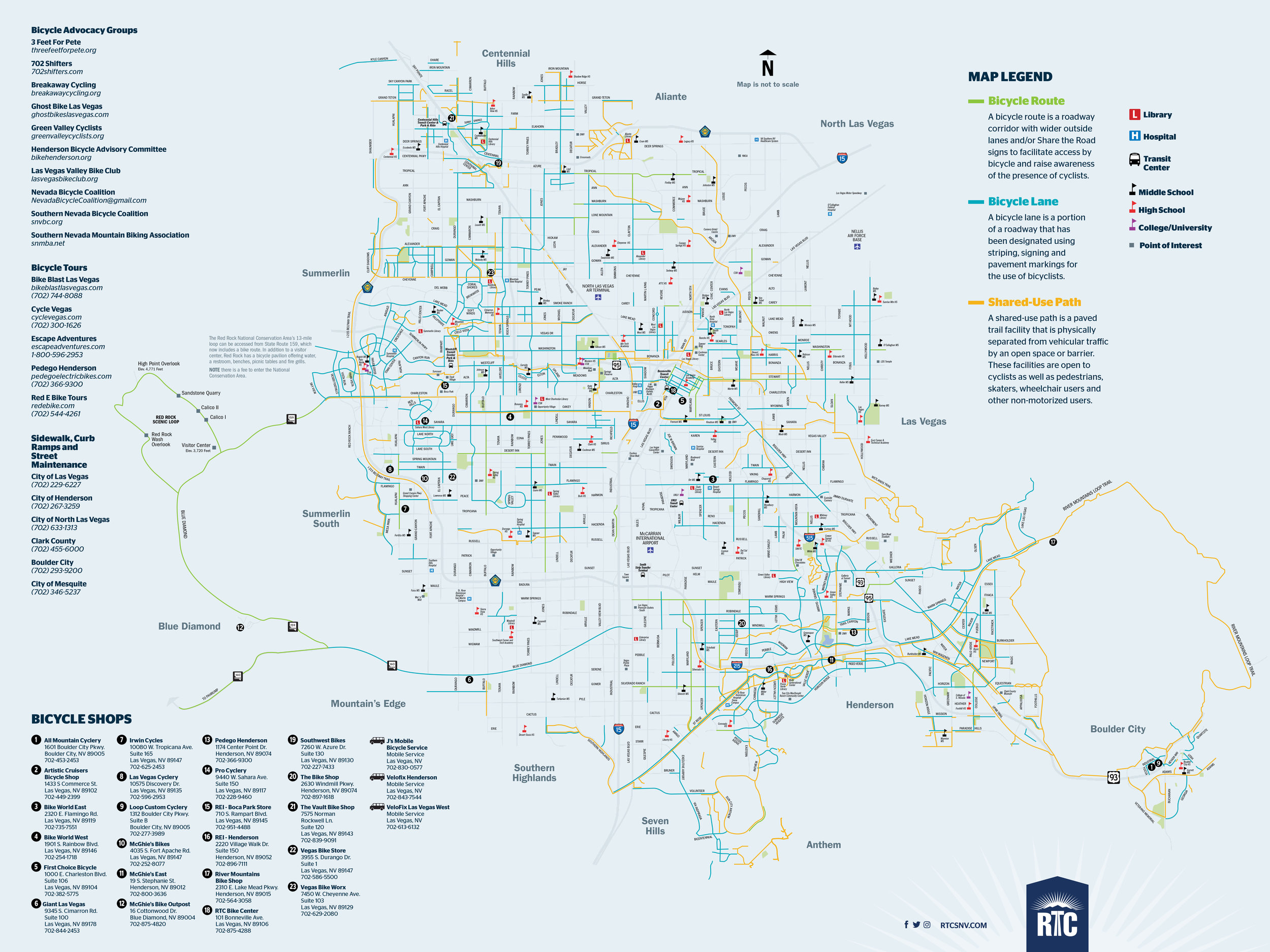 "The updated RTC Bike Map for Southern Nevada touts more than 1,000 miles of bike lanes, paved paths and shared roadways among other useful information. Of the total miles, about 36 percent cover off-street trails and sidewalks, and about 14 percent of these miles are ""high comfort"" facilities appropriate for all ages and abilities. Since the map was last printed in 2013, the miles of bike lanes, paths and routes grew 13 percent. And with more than 50,000 bikes carried monthly on RTC (Regional Transportation Commission of Southern Nevada) transit buses, the region truly is ""bike friendly."""