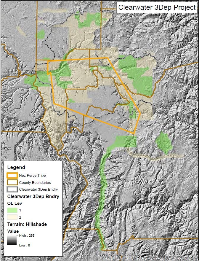 Figure 5 - Map of the Clearwater Basin USGS 3DEP project area. Map by NPC GIS Coordinator.