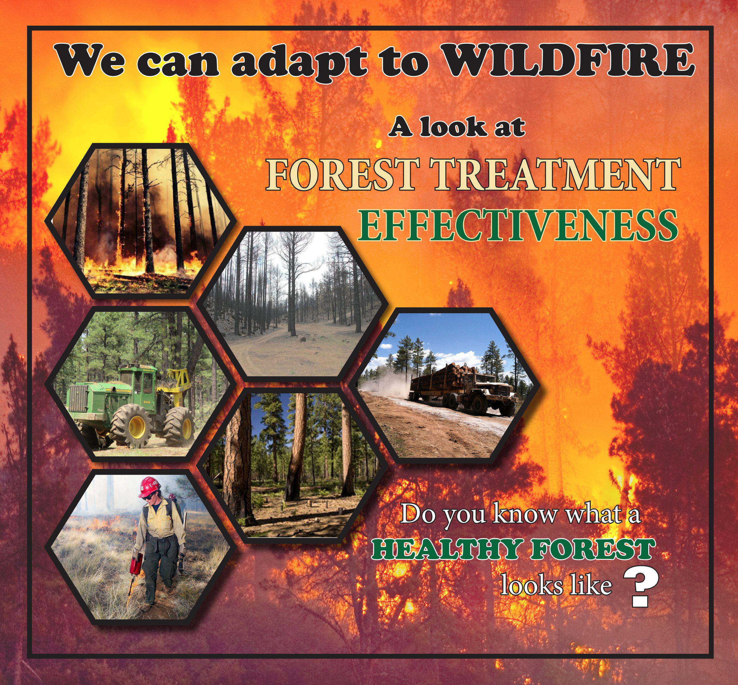 Figure 4. Wildfire Educational Graphic. Greater Flagstaff Forests Partnership. Treatment effectiveness p1.pdf;  http://azfac.org/2018/03/09/a-look-at-forest-treatment-thinning-trees-prescribed-fire-effectiveness/