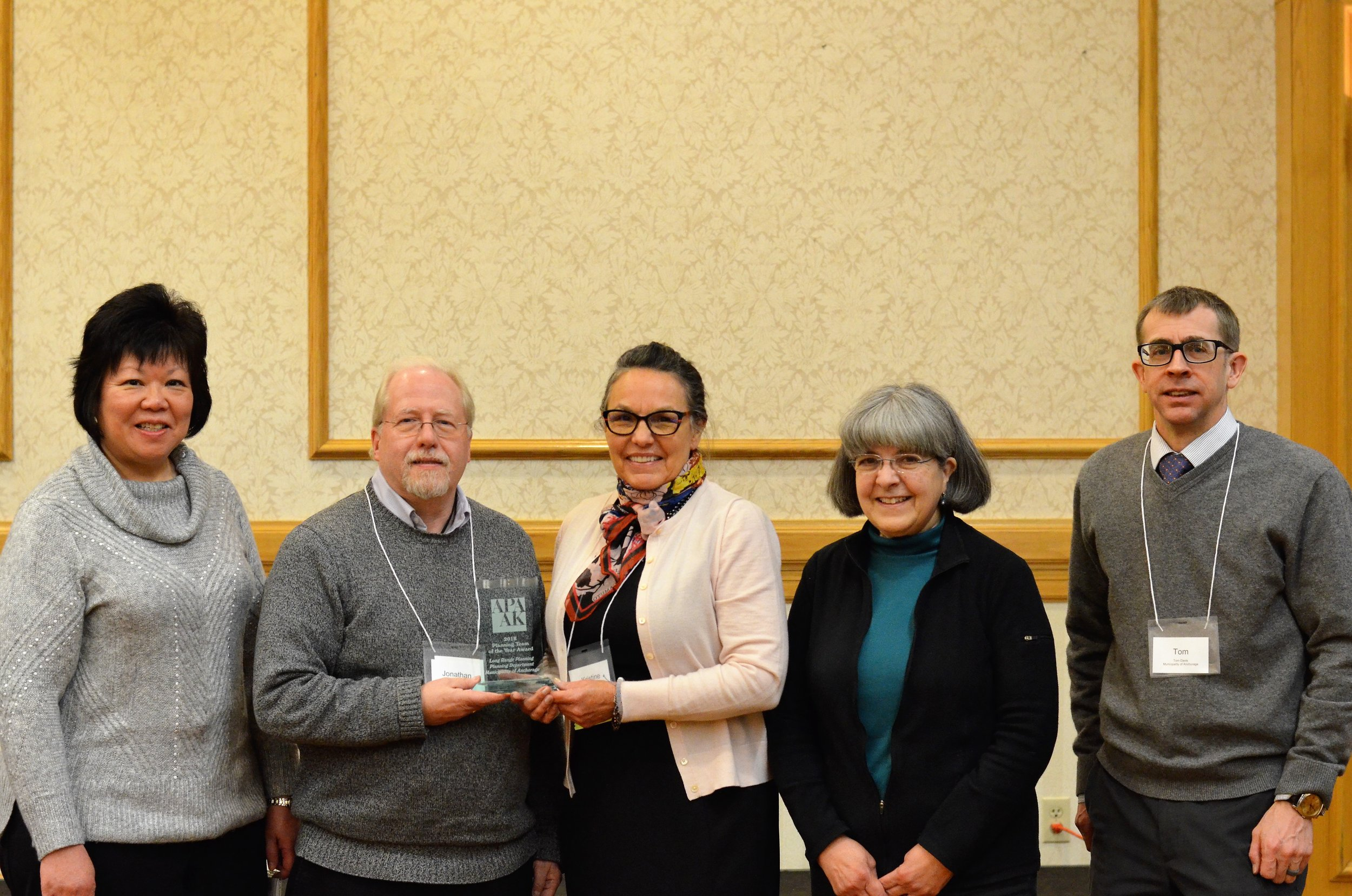 Award for Planning Team - Municipality of Anchorage Long-Range Planning Division. (Far left) Carol Wong, Long-Range Planning Manager, and second from right, Sue Perry. Not pictured was Thede Tobish, Senior Planner.