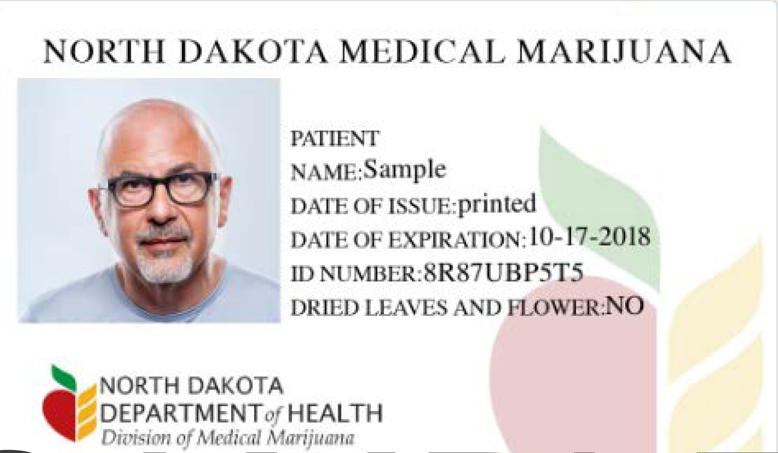 North Dakota Department of Health Sample ID Card. As of March 14 , 160 ID cards have been issued to qualifying patients.