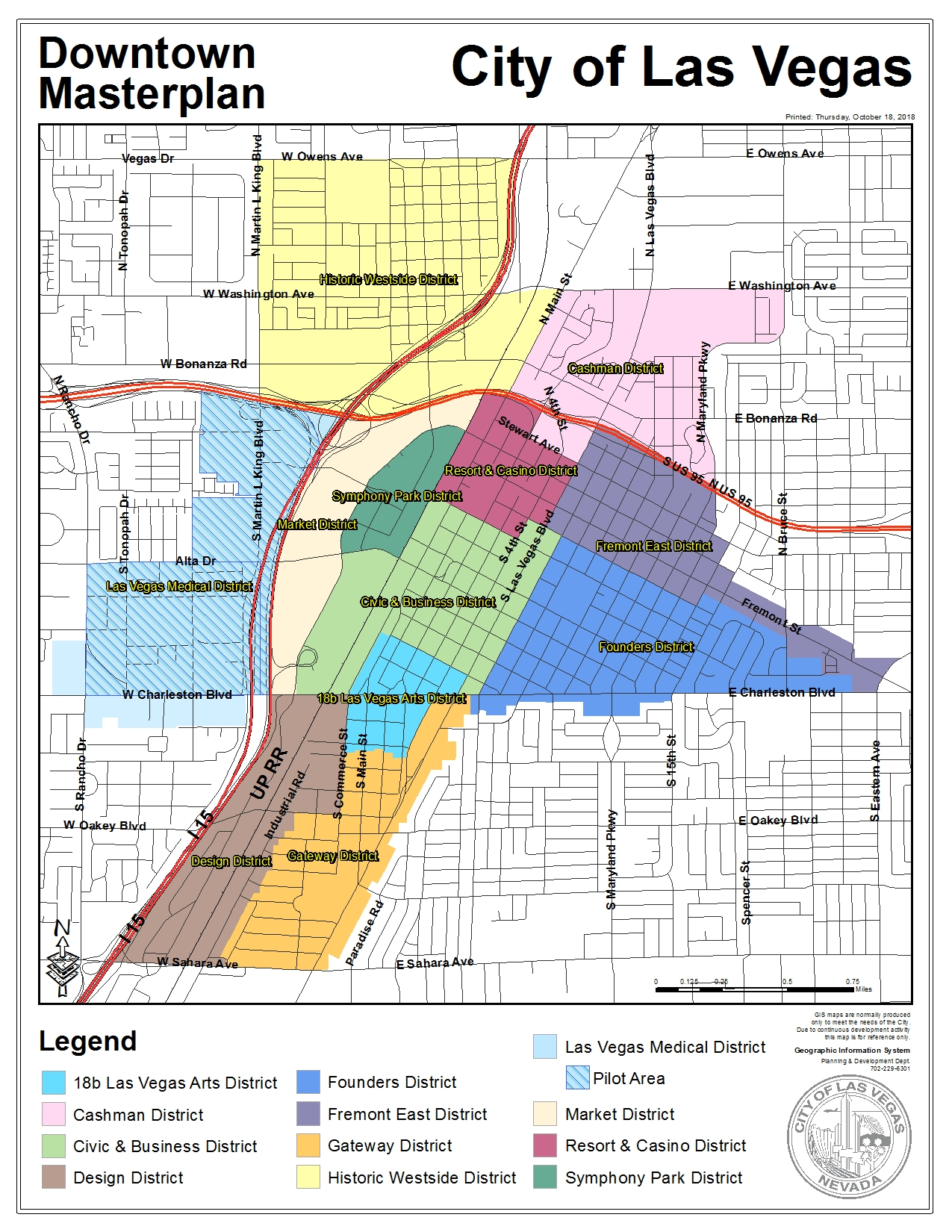Figure A, Districts Within the Downtown Las Vegas Overlay District; Credit: City of Las Vegas